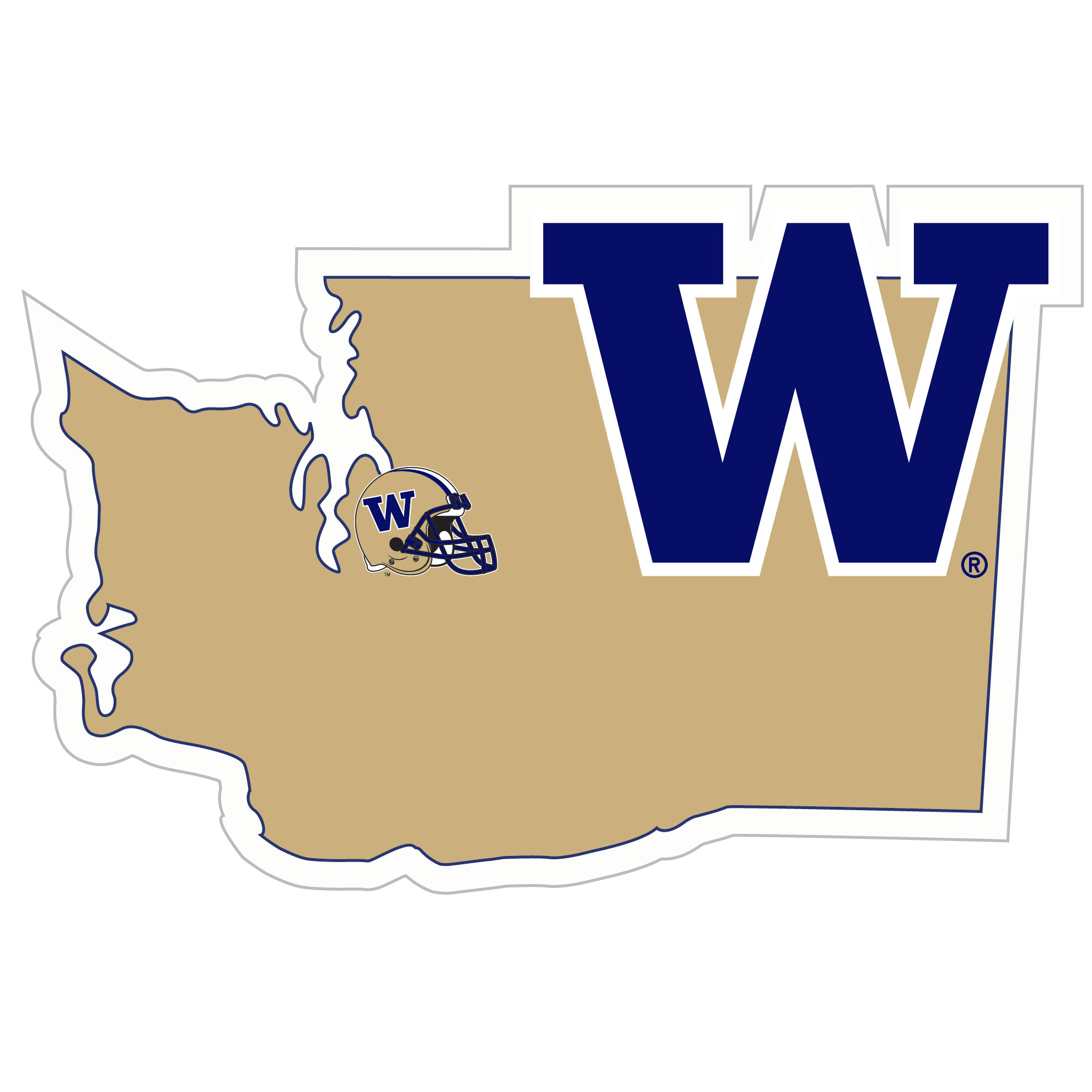 Washington Huskies Home State 11 Inch Magnet - Whether you are caravaning to the game or having a tailgate party make sure you car is wearing its fan gear with our extra large, 11 inch Washington Huskies home state magnets. These striking magnets can be easily placed on for game day and removed without he residue left by decals. The design features a bright state outline with the location of the team highlighted with a football and a large team logo.