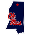 Mississippi Rebels Home State 11 Inch Magnet