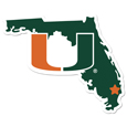 Miami Hurricanes Home State 11 Inch Magnet