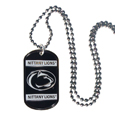 Penn St. Nittany Lions Tag Necklace - Expertly crafted Penn St. Nittany Lions tag necklaces featuring fine detailing and a hand enameled finish with chrome accents. 26 inch ball chain. Thank you for shopping with CrazedOutSports.com