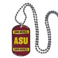 Arizona St. Sun Devils Tag Necklace - Expertly crafted Arizona St. Sun Devils tag necklaces featuring fine detailing and a hand enameled finish with chrome accents. 26 inch ball chain. Thank you for shopping with CrazedOutSports.com