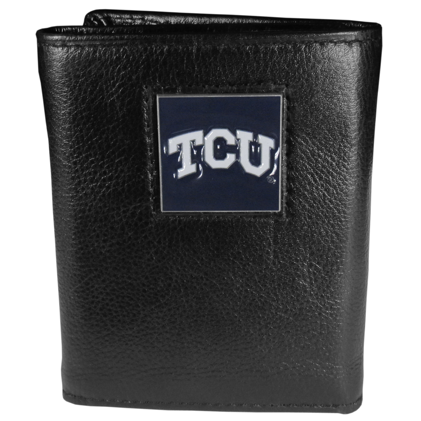 TCU Horned Frogs Deluxe Leather Tri-fold Wallet Packaged in Gift Box - Our officially licensed fine grain leather wallet features numerous card slots, windowed ID slots, removable picture slots and large billfold pockets. This quality wallet has an enameled TCU Horned Frogs emblem on the front of the wallet making it a stylish way to show off your team pride.