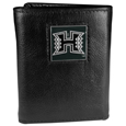 Hawaii Warriors Deluxe Leather Tri-fold Wallet Packaged in Gift Box