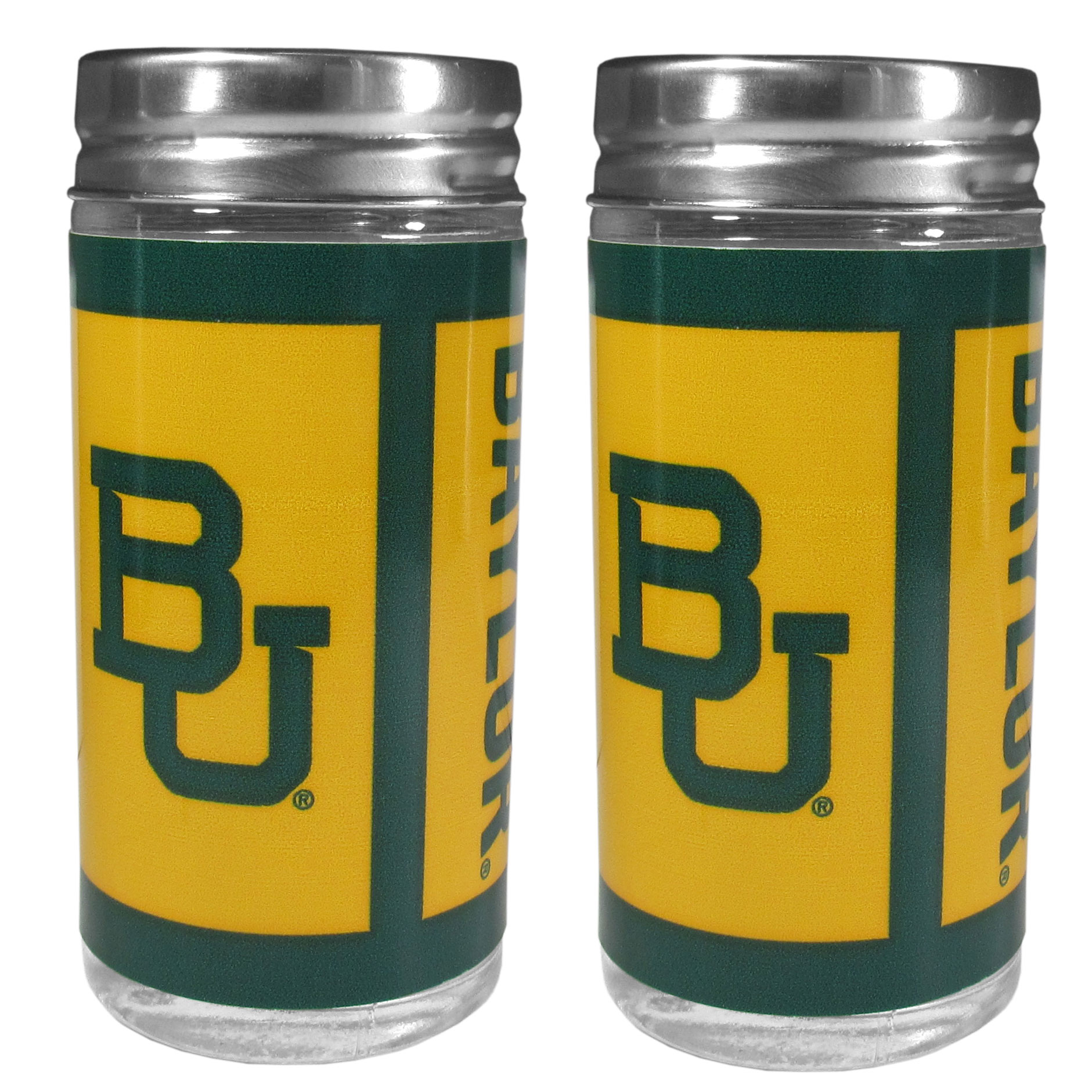 Baylor Bears Tailgater Salt and Pepper Shakers - No tailgate party is complete without your Baylor Bears salt & pepper shakers featuring bright team graphics. The glass shakers are 3.75 inches tall and the screw top lids have holes that spell out P and S. These team shakers are a great grill accessory whether you are barbecuing on the patio, picnicing or having a game day party.