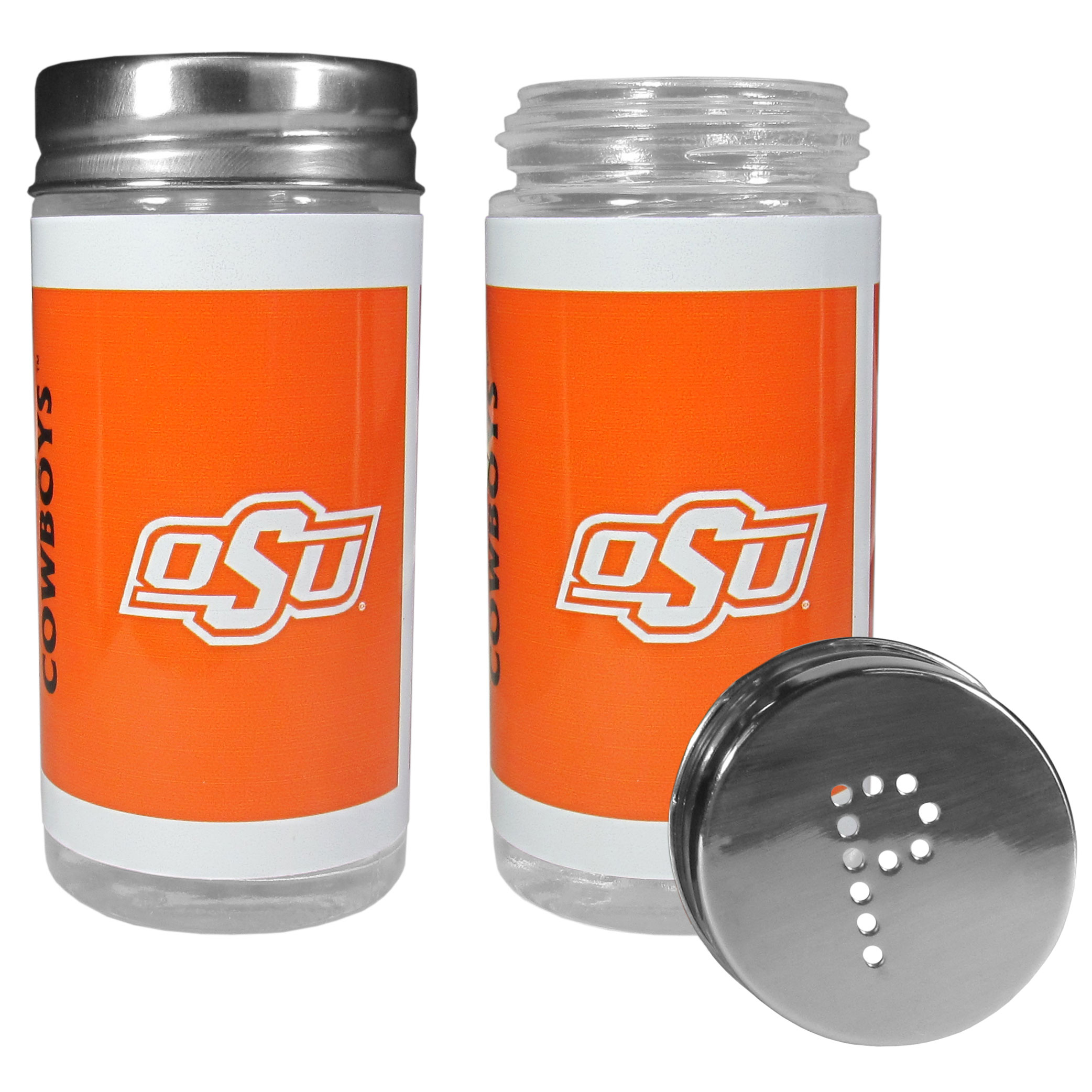Oklahoma St. Cowboys Tailgater Salt & Pepper Shakers - No tailgate party is complete without your Oklahoma St. Cowboys salt & pepper shakers featuring bright team graphics. The glass shakers are 3.75 inches tall and the screw top lids have holes that spell out P and S. These team shakers are a great grill accessory whether you are barbecuing on the patio, picnicing or having a game day party.