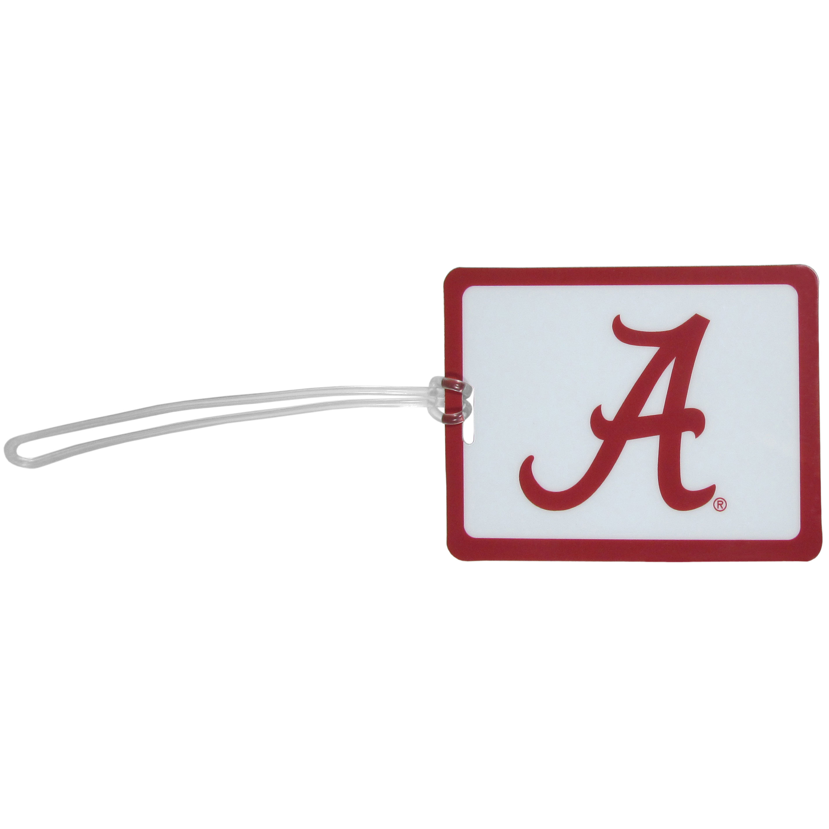 Alabama Crimson Tide Vinyl Luggage Tag - Tired of trying to spot your suitcase or bag in a sea of luggage? Try our large and colorful Alabama Crimson Tide luggage tag set. The tag is 4x3 inches and has a 5 inch cord to attach it easily to your bags, backpacks or luggage. The front of the tag features the team logo in a bright, team colored background and you can write you name, address and phone number on the back of the tag.