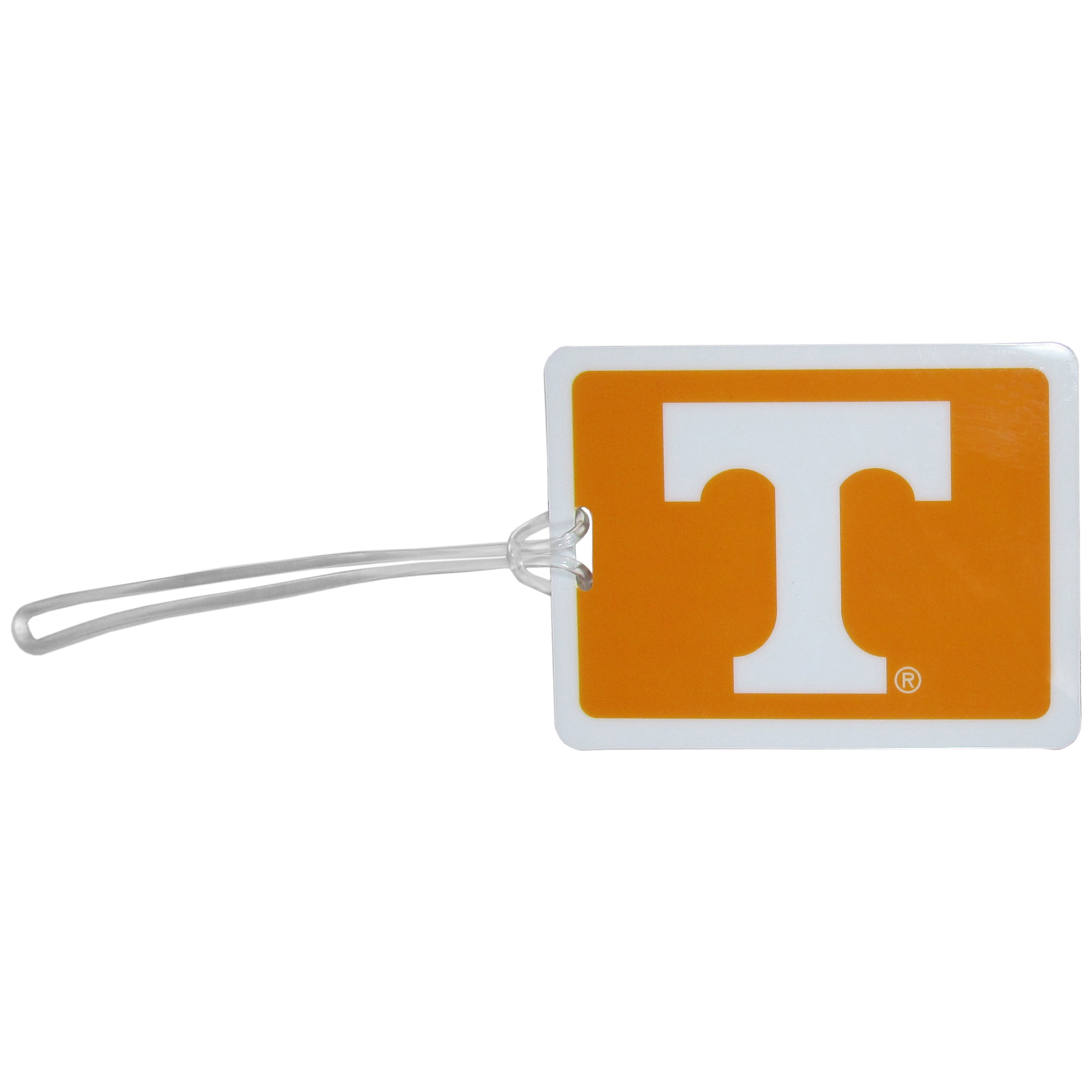 Tennessee Volunteers Vinyl Luggage Tag - Tired of trying to spot your suitcase or bag in a sea of luggage? Try our large and colorful Tennessee Volunteers luggage tag set. The tag is 4x3 inches and has a 5 inch cord to attach it easily to your bags, backpacks or luggage. The front of the tag features the team logo in a bright, team colored background and you can write you name, address and phone number on the back of the tag.