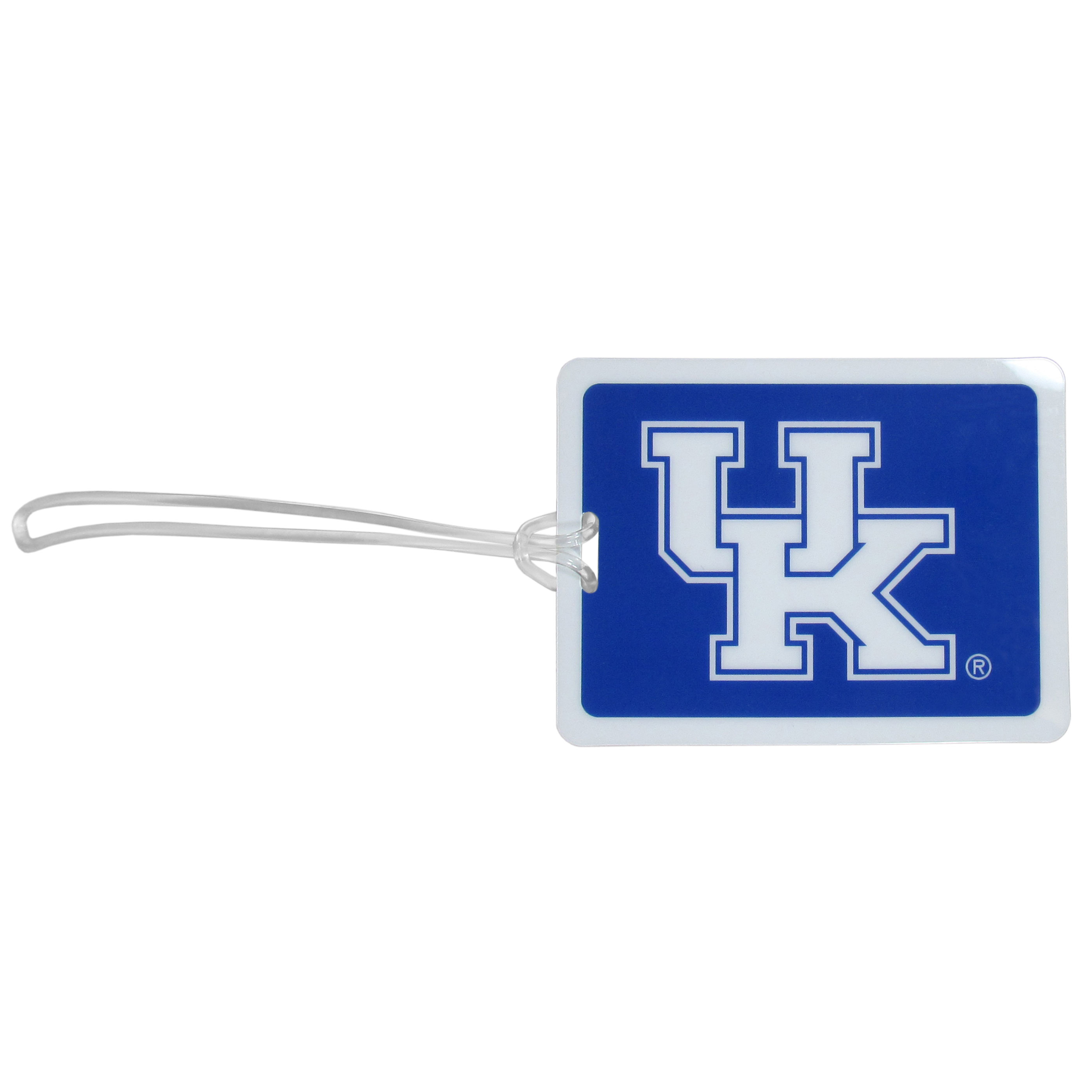 Kentucky Wildcats Vinyl Luggage Tag - Tired of trying to spot your suitcase or bag in a sea of luggage? Try our large and colorful Kentucky Wildcats luggage tag set. The tag is 4x3 inches and has a 5 inch cord to attach it easily to your bags, backpacks or luggage. The front of the tag features the team logo in a bright, team colored background and you can write you name, address and phone number on the back of the tag.