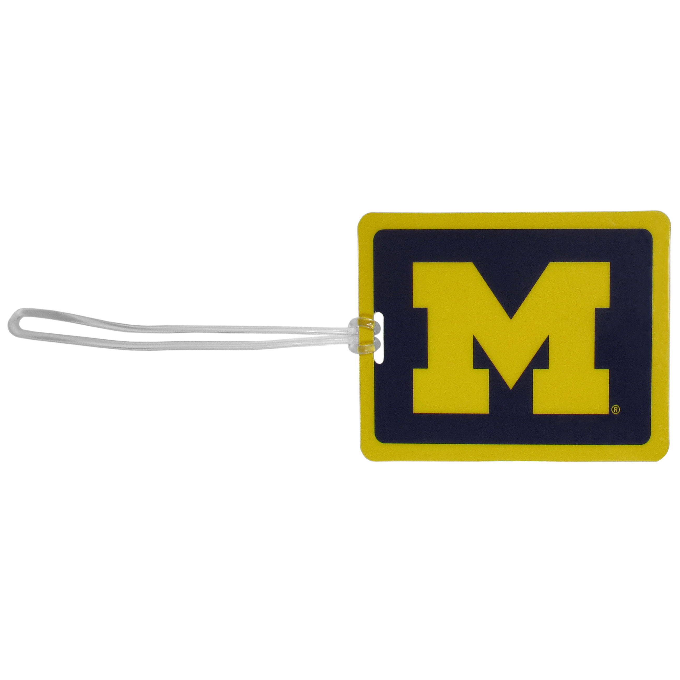 Michigan Wolverines Vinyl Luggage Tag - Tired of trying to spot your suitcase or bag in a sea of luggage? Try our large and colorful Michigan Wolverines luggage tag set. The tag is 4x3 inches and has a 5 inch cord to attach it easily to your bags, backpacks or luggage. The front of the tag features the team logo in a bright, team colored background and you can write you name, address and phone number on the back of the tag.