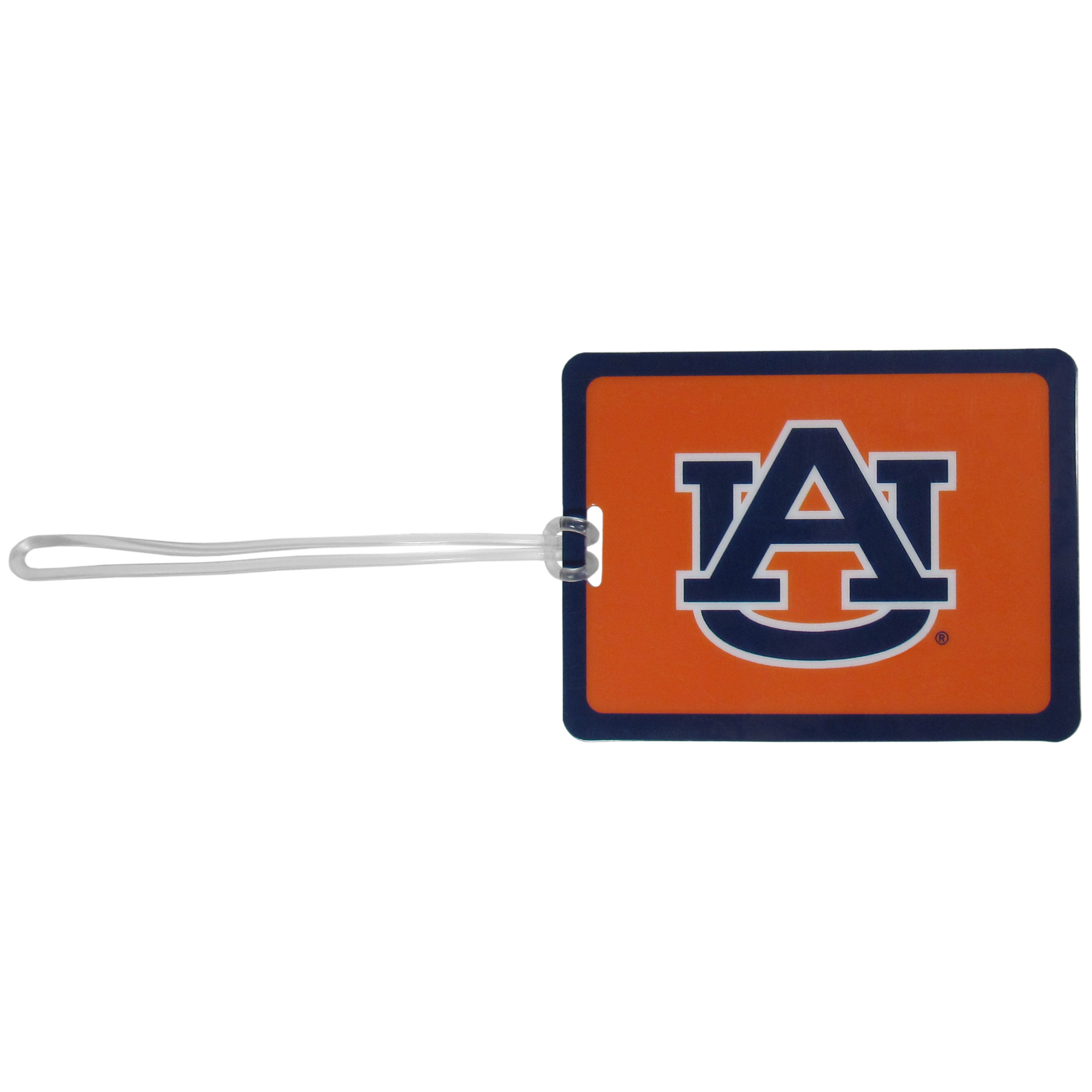Auburn Tigers Vinyl Luggage Tag - Tired of trying to spot your suitcase or bag in a sea of luggage? Try our large and colorful Auburn Tigers luggage tag set. The tag is 4x3 inches and has a 5 inch cord to attach it easily to your bags, backpacks or luggage. The front of the tag features the team logo in a bright, team colored background and you can write you name, address and phone number on the back of the tag.