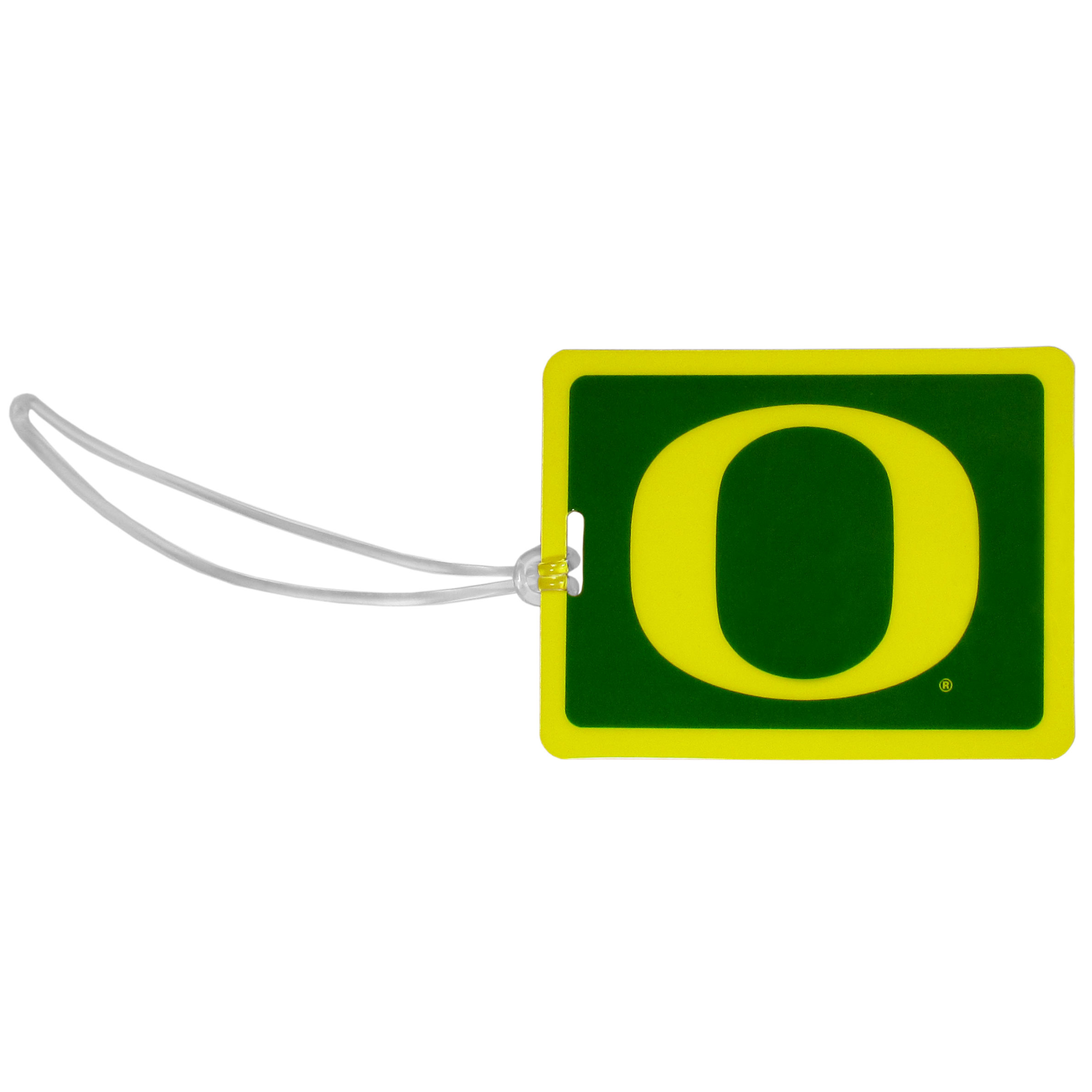 Oregon Ducks Vinyl Luggage Tag - Tired of trying to spot your suitcase or bag in a sea of luggage? Try our large and colorful Oregon Ducks luggage tag set. The tag is 4x3 inches and has a 5 inch cord to attach it easily to your bags, backpacks or luggage. The front of the tag features the team logo in a bright, team colored background and you can write you name, address and phone number on the back of the tag.