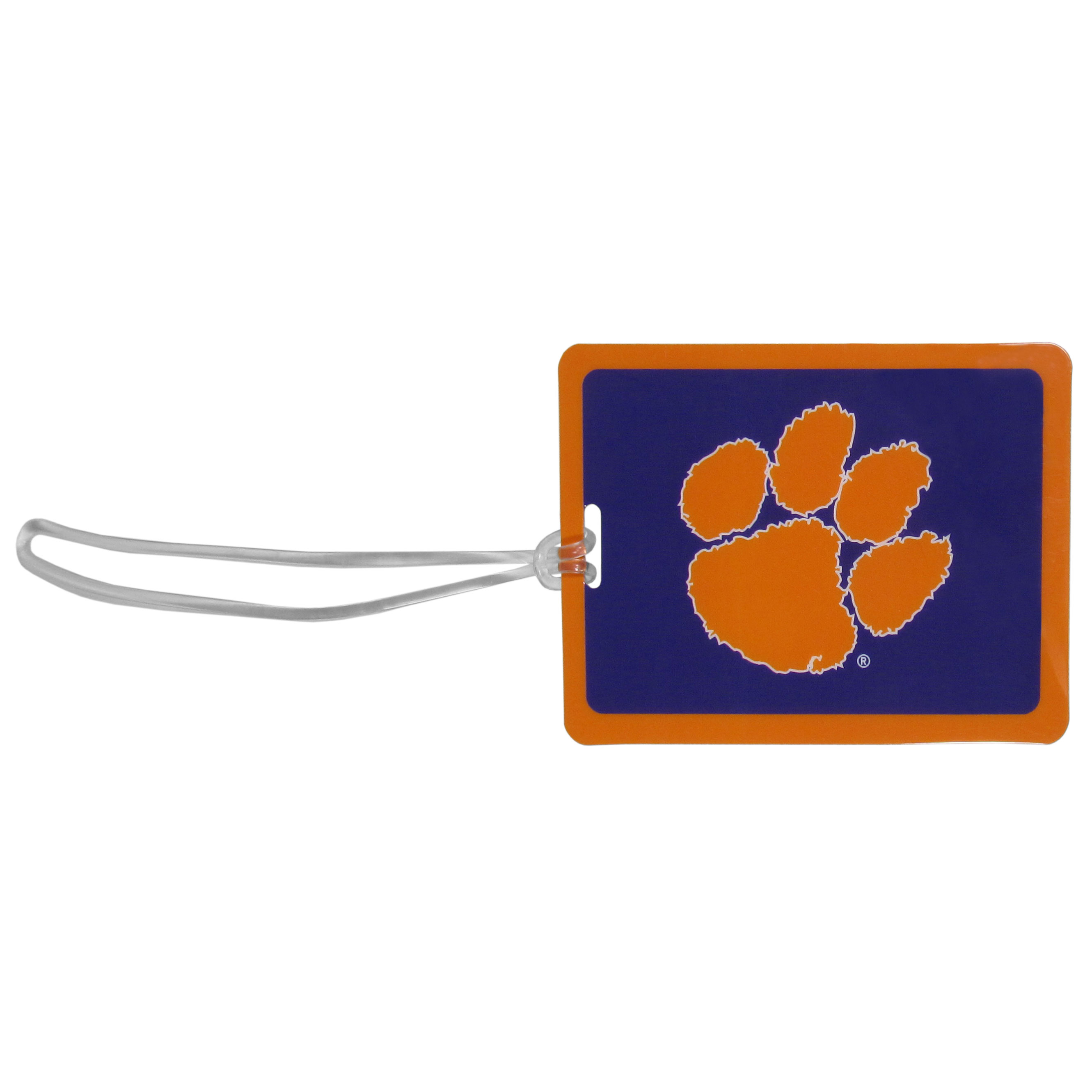 Clemson Tigers Vinyl Luggage Tag - Tired of trying to spot your suitcase or bag in a sea of luggage? Try our large and colorful Clemson Tigers luggage tag set. The tag is 4x3 inches and has a 5 inch cord to attach it easily to your bags, backpacks or luggage. The front of the tag features the team logo in a bright, team colored background and you can write you name, address and phone number on the back of the tag.