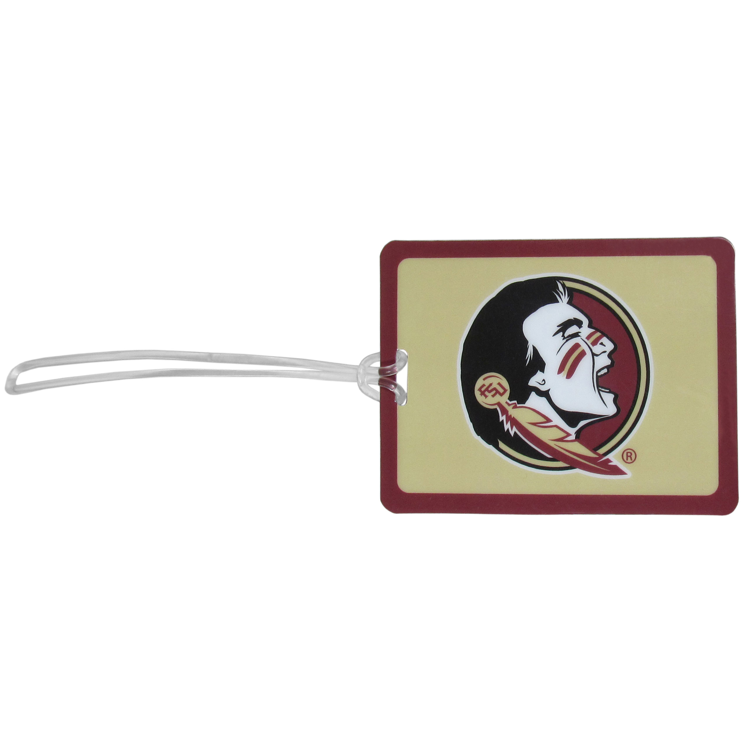 Florida St. Seminoles Vinyl Luggage Tag - Tired of trying to spot your suitcase or bag in a sea of luggage? Try our large and colorful Florida St. Seminoles luggage tag set. The tag is 4x3 inches and has a 5 inch cord to attach it easily to your bags, backpacks or luggage. The front of the tag features the team logo in a bright, team colored background and you can write you name, address and phone number on the back of the tag.