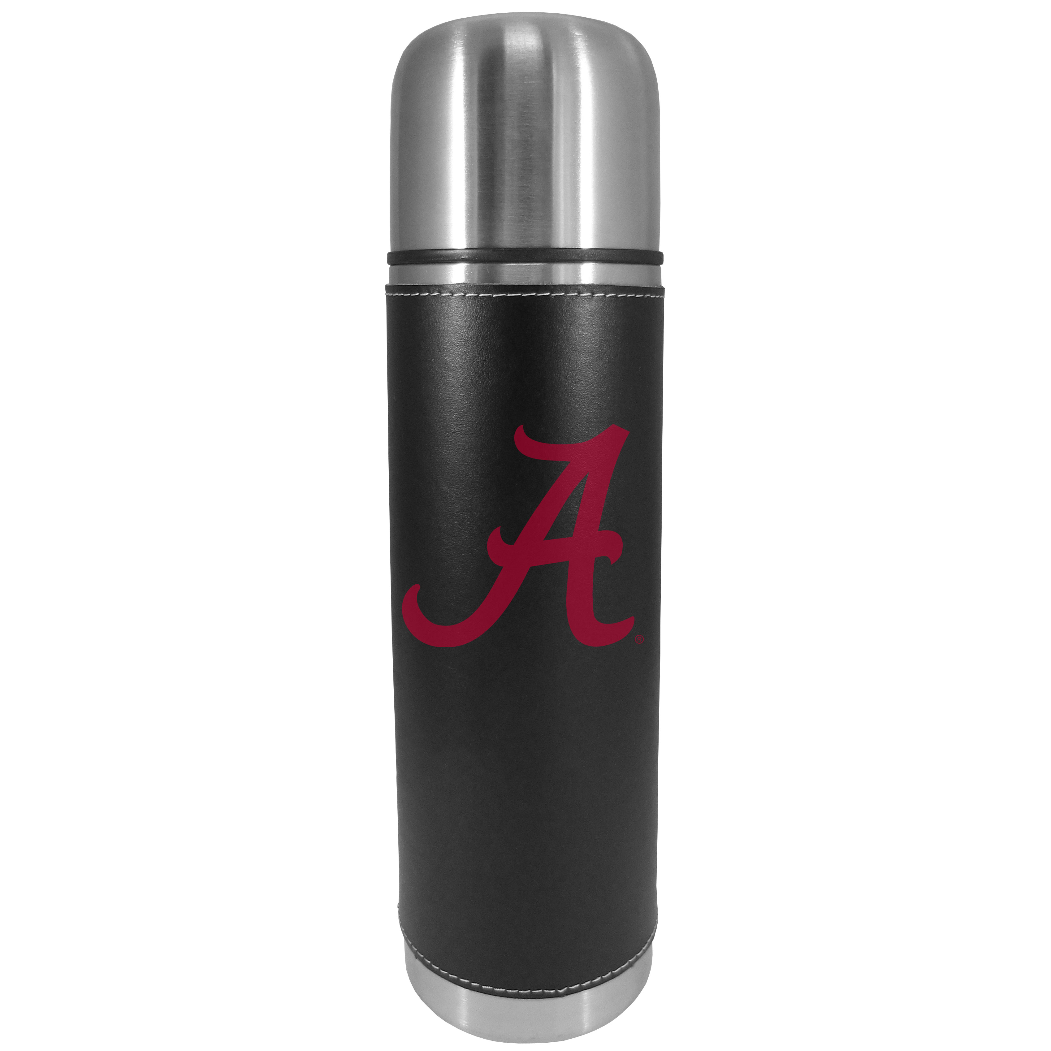 Alabama Crimson Tide Graphics Thermos - This attractive, 26 ounce Alabama Crimson Tide thermos is a great way to keep your beverages hot while on the go. The 11 inch tall, vacuum sealed thermos features a black vinyl wrap with stitched details and a digitally printed team logo. The lid screws on and can be used as a cup.