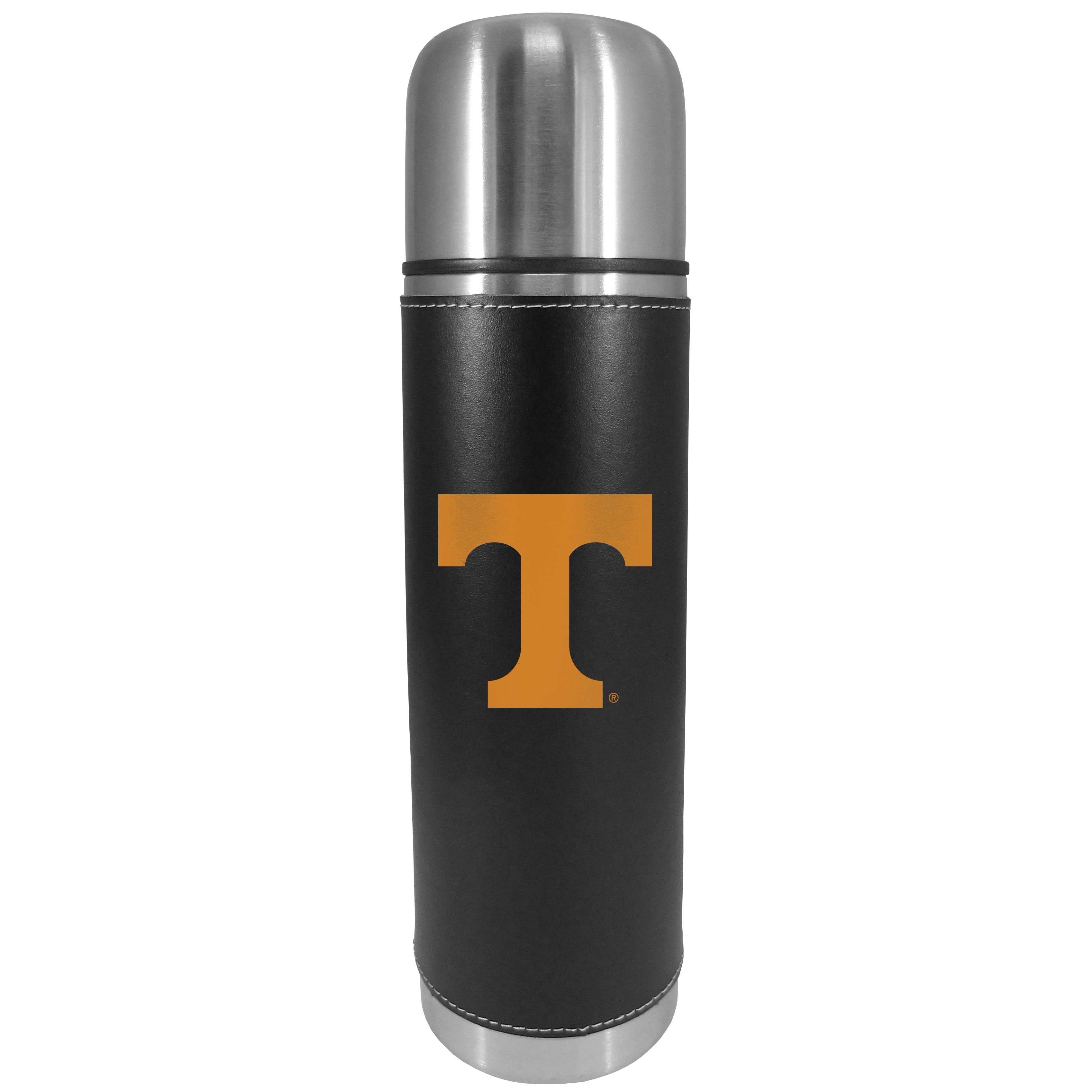 Tennessee Volunteers Graphics Thermos - This attractive, 26 ounce Tennessee Volunteers thermos is a great way to keep your beverages hot while on the go. The 11 inch tall, vacuum sealed thermos features a black vinyl wrap with stitched details and a digitally printed team logo. The lid screws on and can be used as a cup.