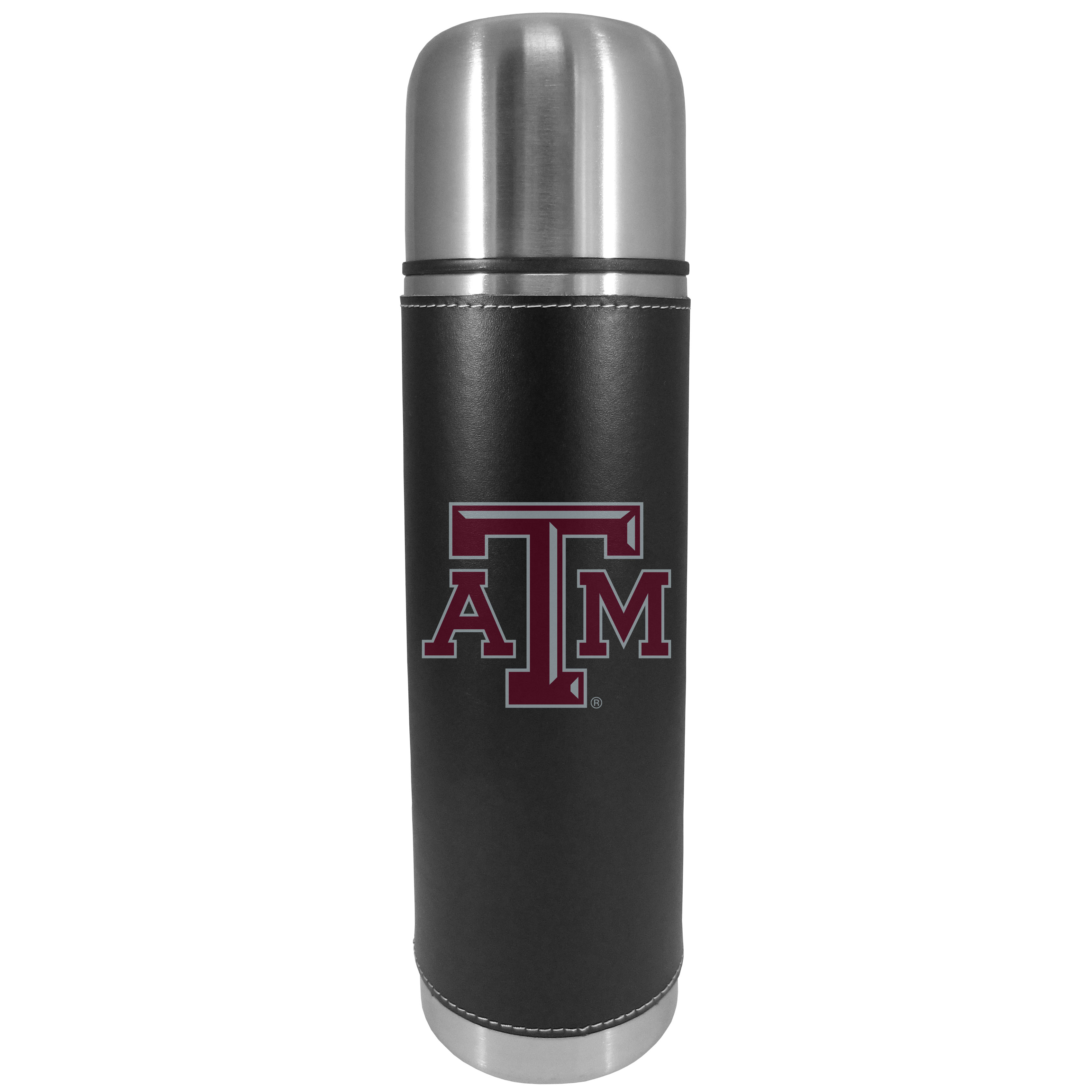 Texas A and M Aggies Graphics Thermos - This attractive, 26 ounce Texas A & M Aggies thermos is a great way to keep your beverages hot while on the go. The 11 inch tall, vacuum sealed thermos features a black vinyl wrap with stitched details and a digitally printed team logo. The lid screws on and can be used as a cup.