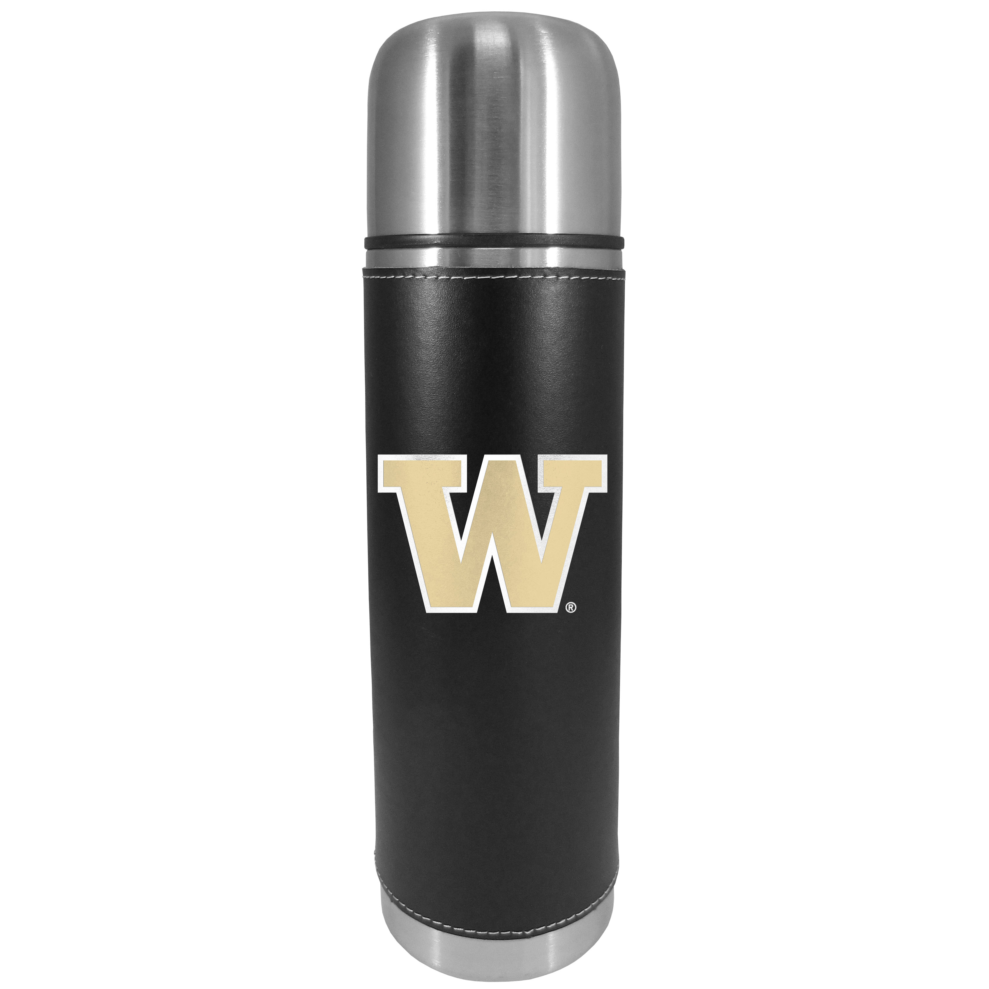 Washington Huskies Graphics Thermos - This attractive, 26 ounce Washington Huskies thermos is a great way to keep your beverages hot while on the go. The 11 inch tall, vacuum sealed thermos features a black vinyl wrap with stitched details and a digitally printed team logo. The lid screws on and can be used as a cup.