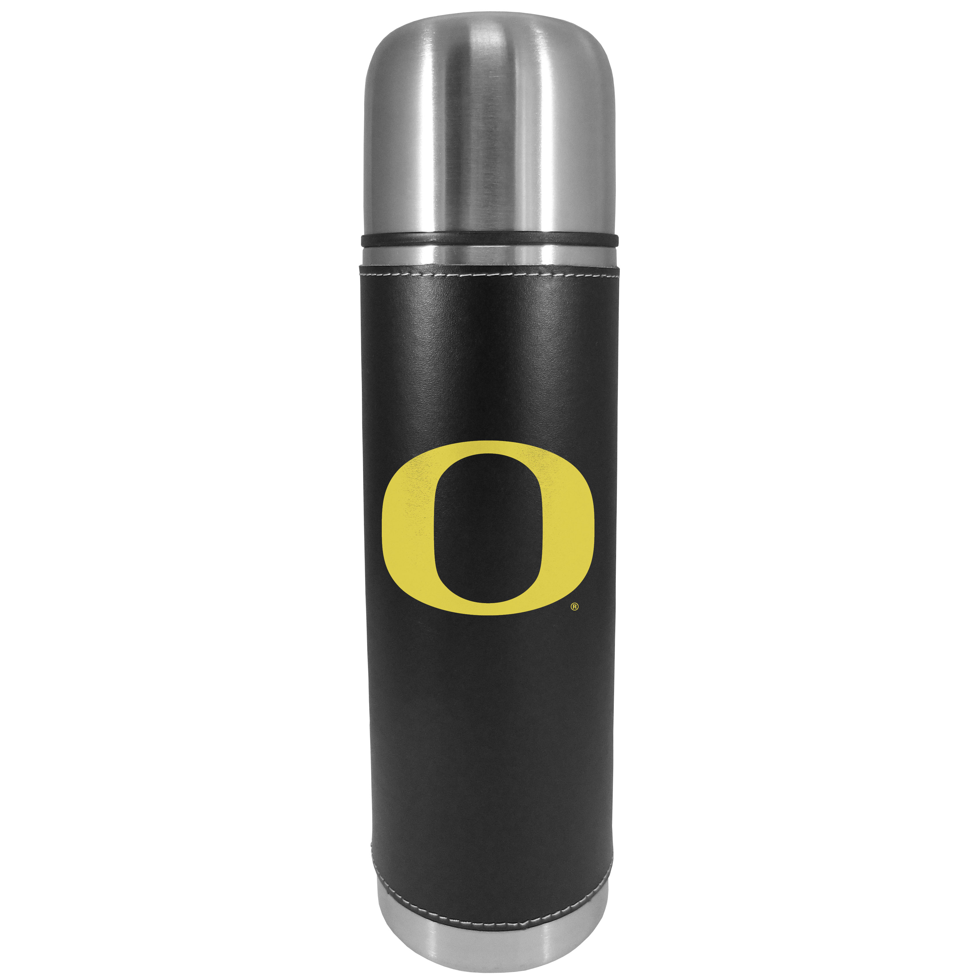 Oregon Ducks Graphics Thermos - This attractive, 26 ounce Oregon Ducks thermos is a great way to keep your beverages hot while on the go. The 11 inch tall, vacuum sealed thermos features a black vinyl wrap with stitched details and a digitally printed team logo. The lid screws on and can be used as a cup.