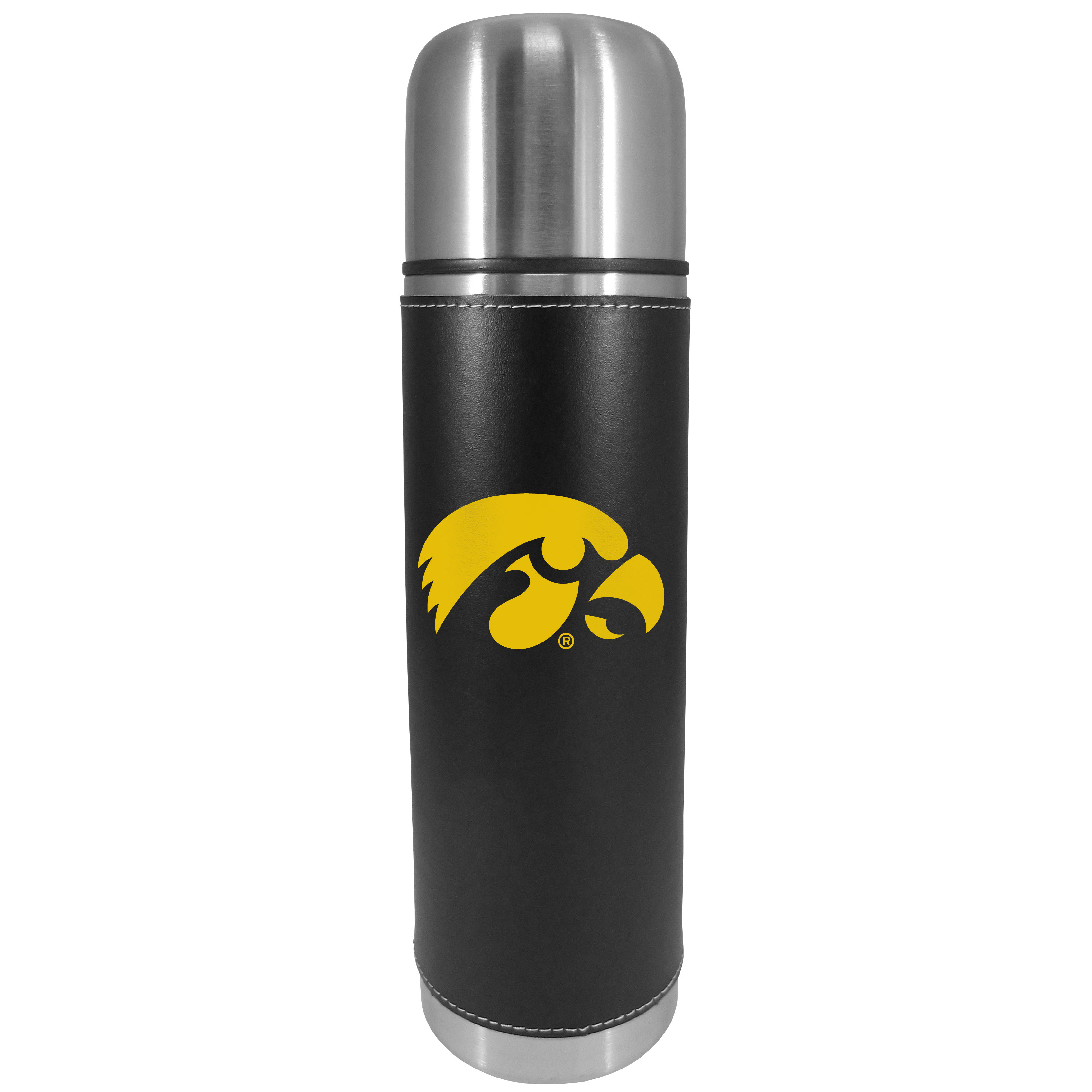 Iowa Hawkeyes Graphics Thermos - This attractive, 26 ounce Iowa Hawkeyes thermos is a great way to keep your beverages hot while on the go. The 11 inch tall, vacuum sealed thermos features a black vinyl wrap with stitched details and a digitally printed team logo. The lid screws on and can be used as a cup.