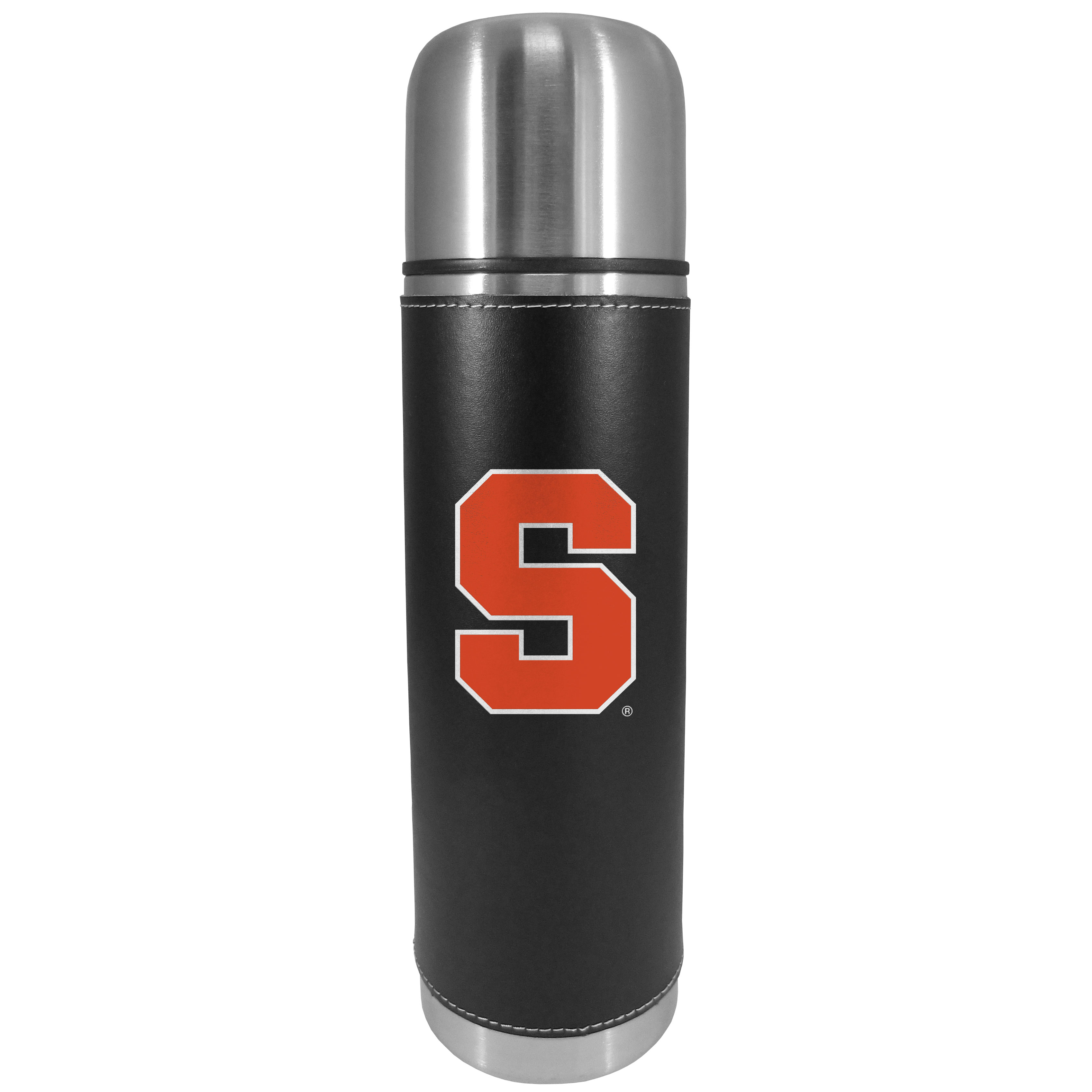 Syracuse Orange Graphics Thermos - This attractive, 26 ounce Syracuse Orange thermos is a great way to keep your beverages hot while on the go. The 11 inch tall, vacuum sealed thermos features a black vinyl wrap with stitched details and a digitally printed team logo. The lid screws on and can be used as a cup.