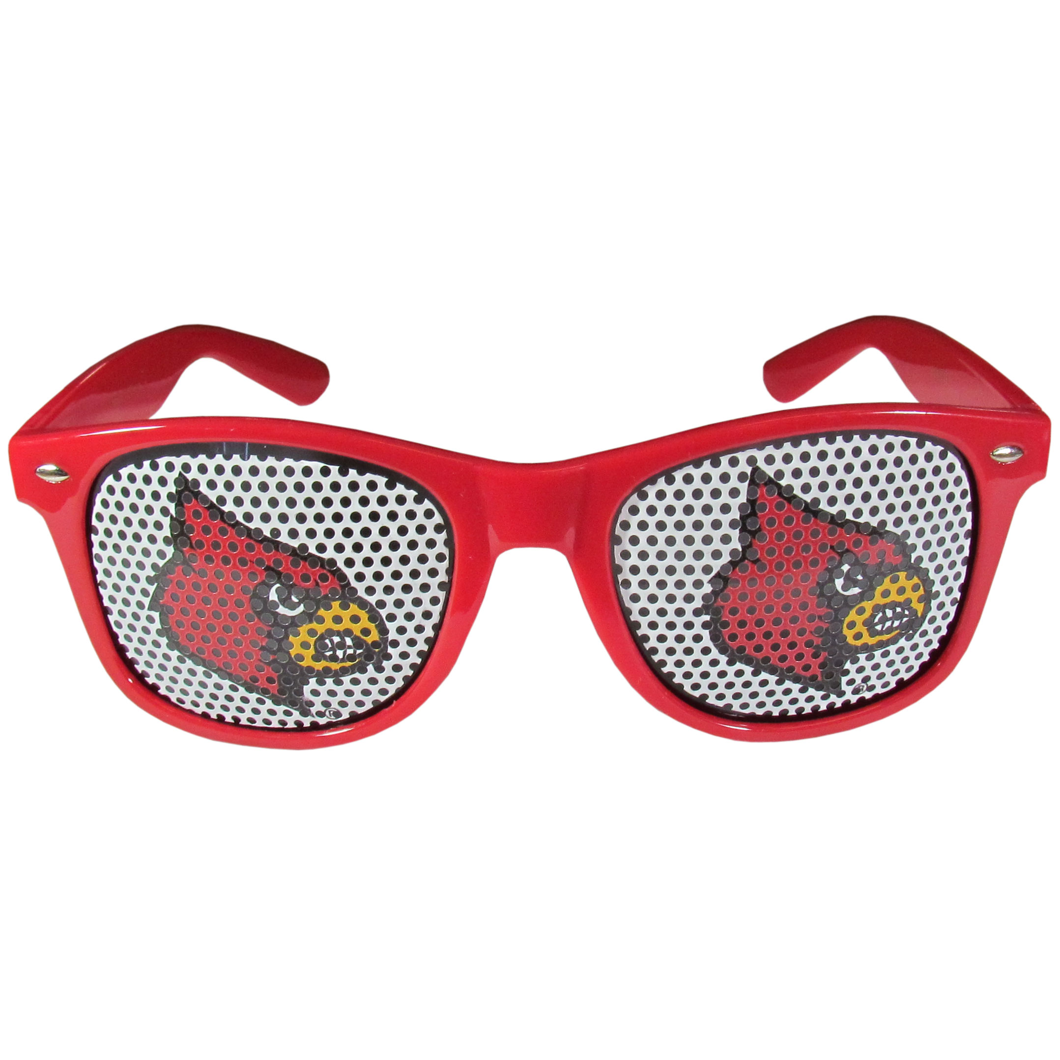 Louisville Cardinals Game Day Shades - Our officially licensed game day shades are the perfect accessory for the devoted Louisville Cardinals fan! The sunglasses have durable polycarbonate frames with flex hinges for comfort and damage resistance. The lenses feature brightly colored team clings that are perforated for visibility.