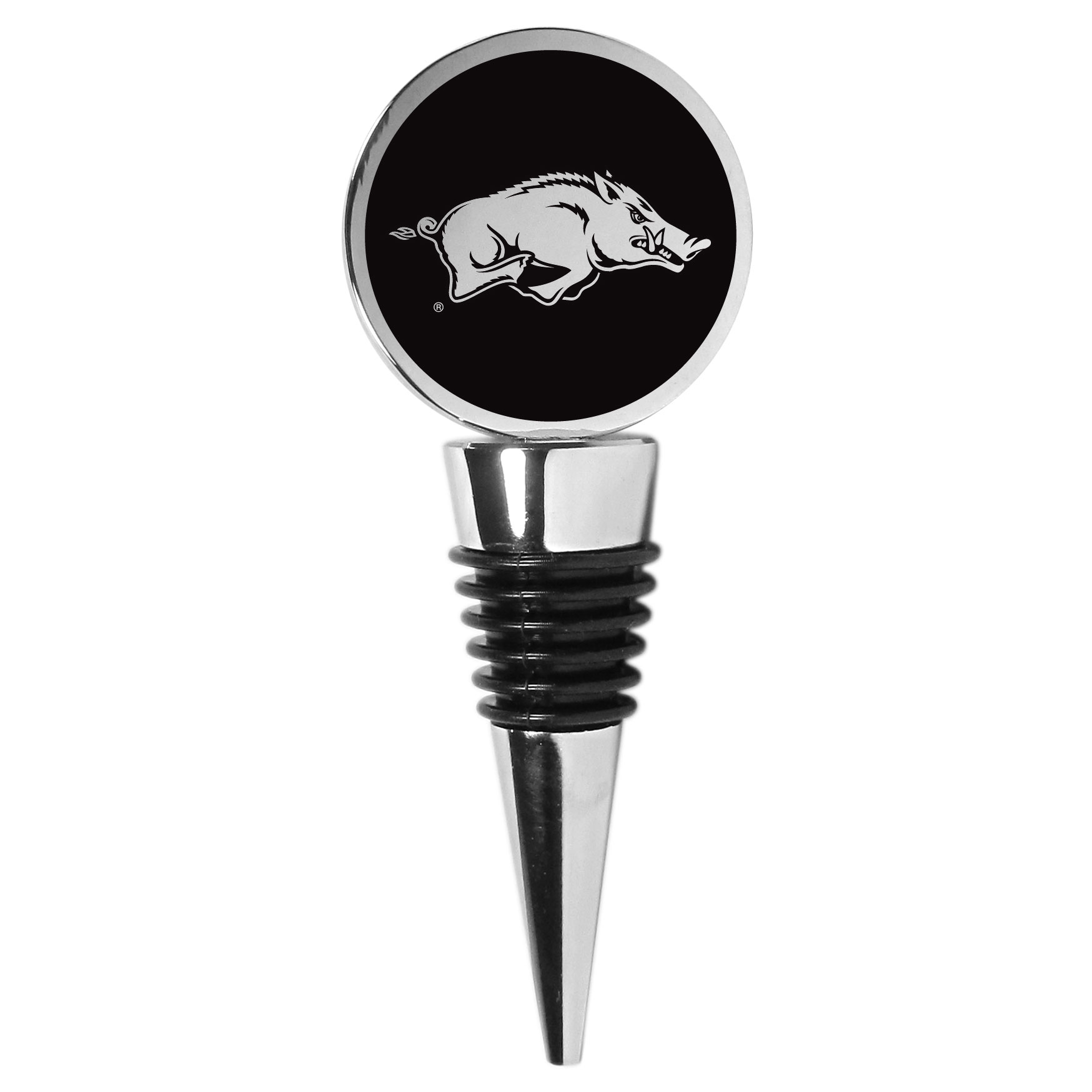 Arkansas Razorbacks Wine Stopper - This beautiful Arkansas Razorbacks wine stopper has a classy monochromatic logo on the top disc. The tapered rubber rings allow you to create a tight seal on multiple sizes of wine bottles so that you are able to preserve the wine for later enjoyment. This a perfect addition to a game day celebration.