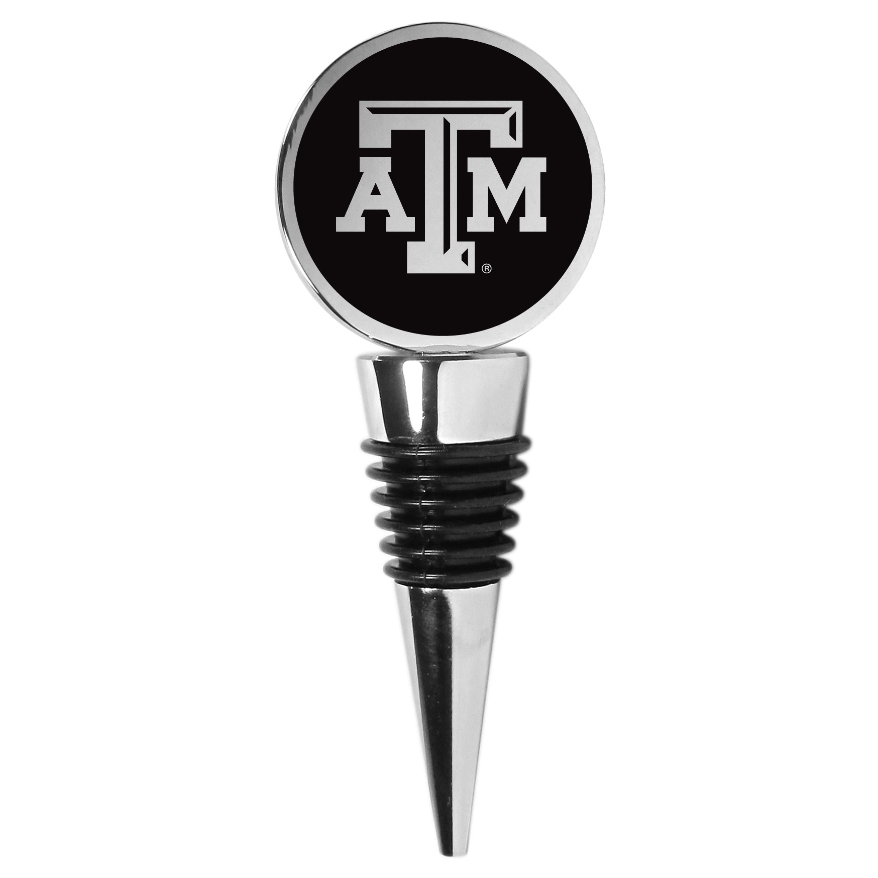Texas A and M Aggies Wine Stopper - This beautiful Texas A & M Aggies wine stopper has a classy monochromatic logo on the top disc. The tapered rubber rings allow you to create a tight seal on multiple sizes of wine bottles so that you are able to preserve the wine for later enjoyment. This a perfect addition to a game day celebration.
