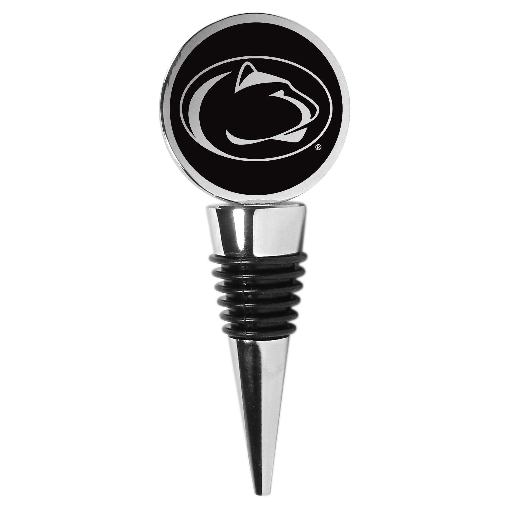 Penn St. Nittany Lions Wine Stopper - This beautiful Penn St. Nittany Lions wine stopper has a classy monochromatic logo on the top disc. The tapered rubber rings allow you to create a tight seal on multiple sizes of wine bottles so that you are able to preserve the wine for later enjoyment. This a perfect addition to a game day celebration.