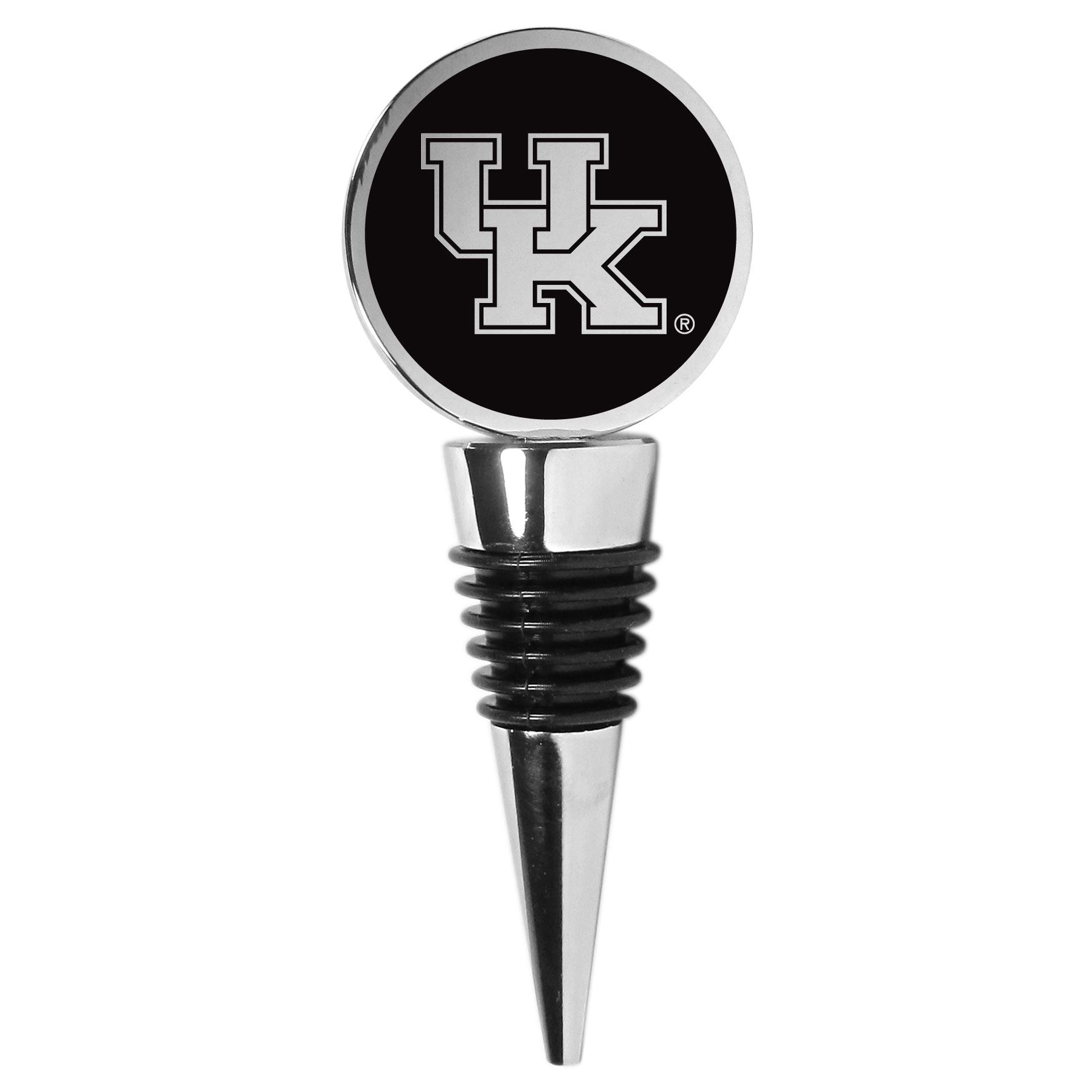 Kentucky Wildcats Wine Stopper - This beautiful Kentucky Wildcats wine stopper has a classy monochromatic logo on the top disc. The tapered rubber rings allow you to create a tight seal on multiple sizes of wine bottles so that you are able to preserve the wine for later enjoyment. This a perfect addition to a game day celebration.