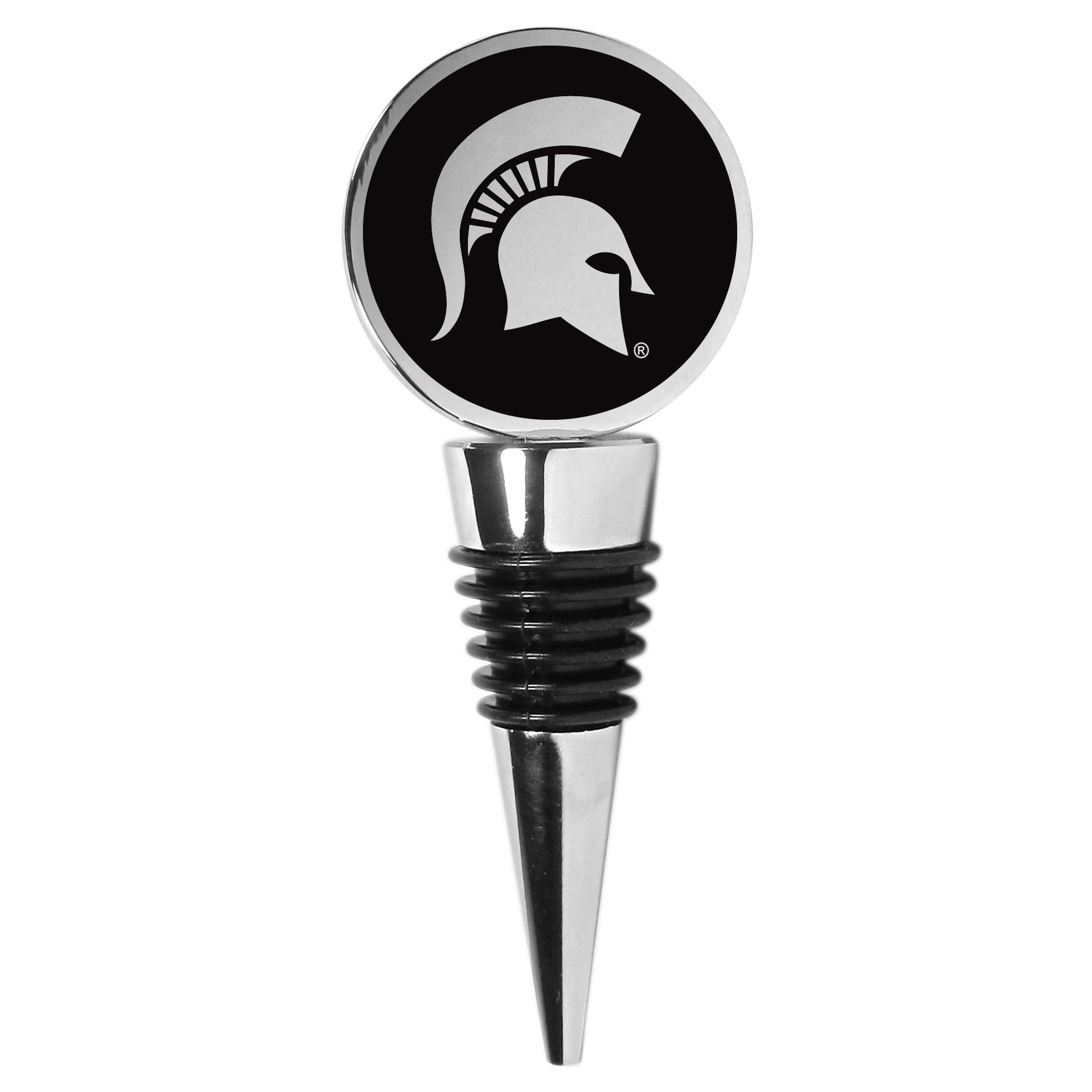 Michigan St. Spartans Wine Stopper - This beautiful Michigan St. Spartans wine stopper has a classy monochromatic logo on the top disc. The tapered rubber rings allow you to create a tight seal on multiple sizes of wine bottles so that you are able to preserve the wine for later enjoyment. This a perfect addition to a game day celebration.