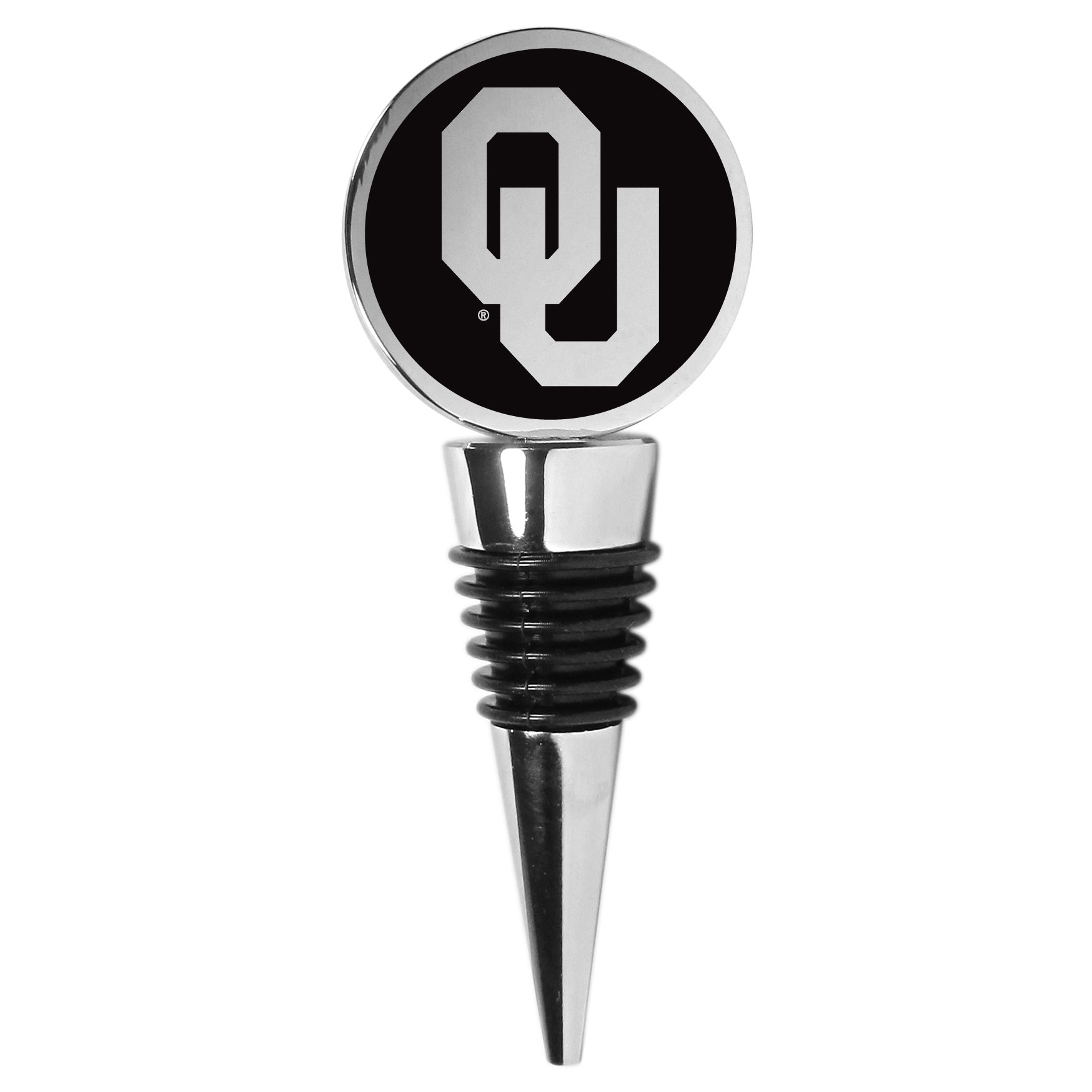 Oklahoma Sooners Wine Stopper - This beautiful Oklahoma Sooners wine stopper has a classy monochromatic logo on the top disc. The tapered rubber rings allow you to create a tight seal on multiple sizes of wine bottles so that you are able to preserve the wine for later enjoyment. This a perfect addition to a game day celebration.