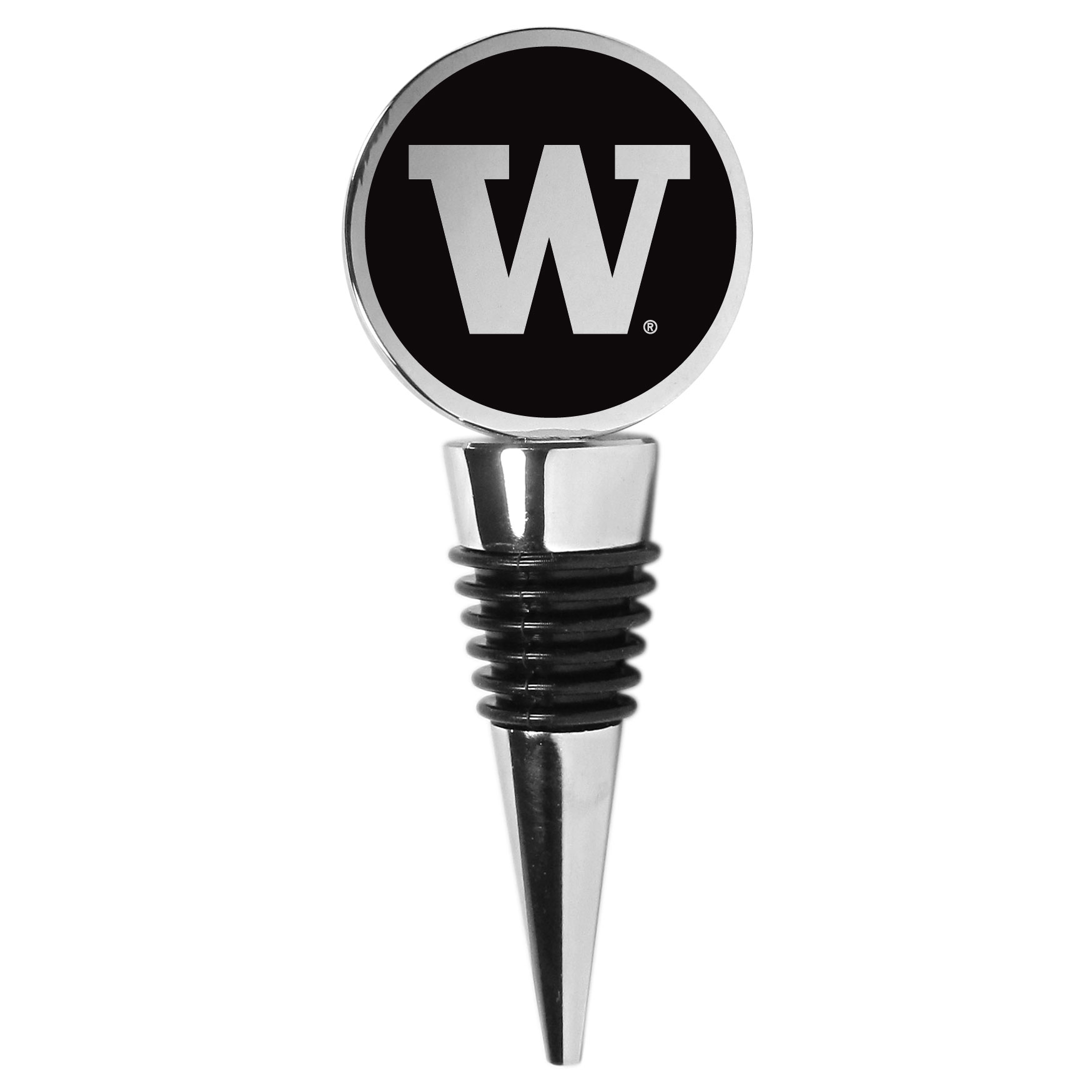 Washington Huskies Wine Stopper - This beautiful Washington Huskies wine stopper has a classy monochromatic logo on the top disc. The tapered rubber rings allow you to create a tight seal on multiple sizes of wine bottles so that you are able to preserve the wine for later enjoyment. This a perfect addition to a game day celebration.