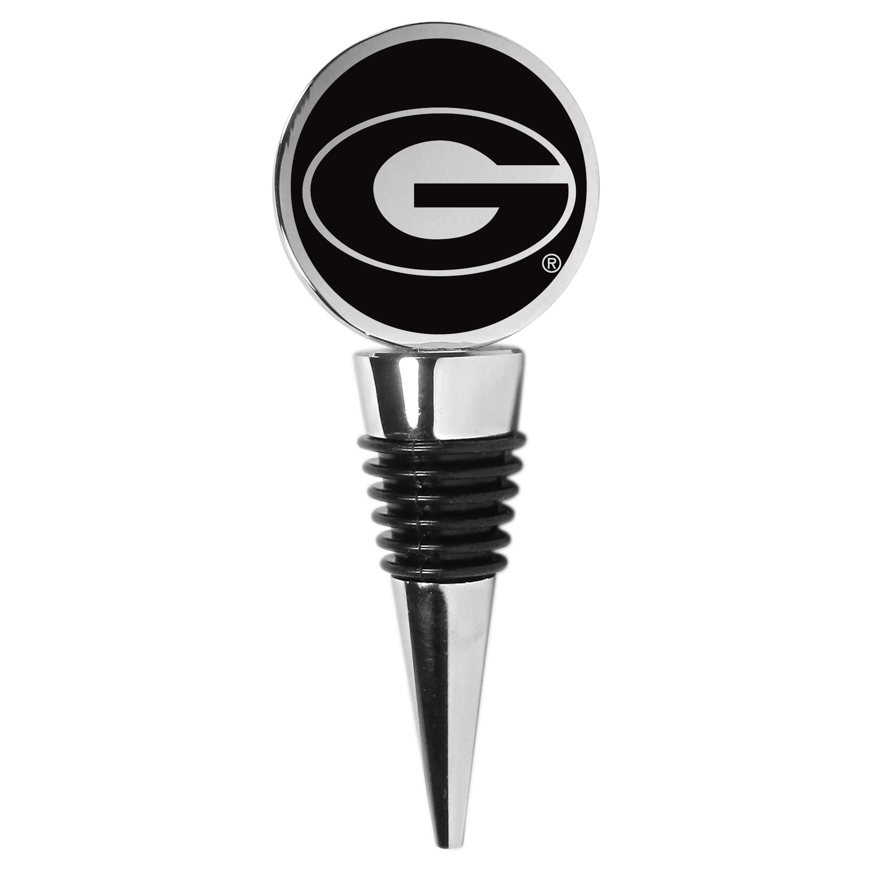 Georgia Bulldogs Wine Stopper - This beautiful Georgia Bulldogs wine stopper has a classy monochromatic logo on the top disc. The tapered rubber rings allow you to create a tight seal on multiple sizes of wine bottles so that you are able to preserve the wine for later enjoyment. This a perfect addition to a game day celebration.