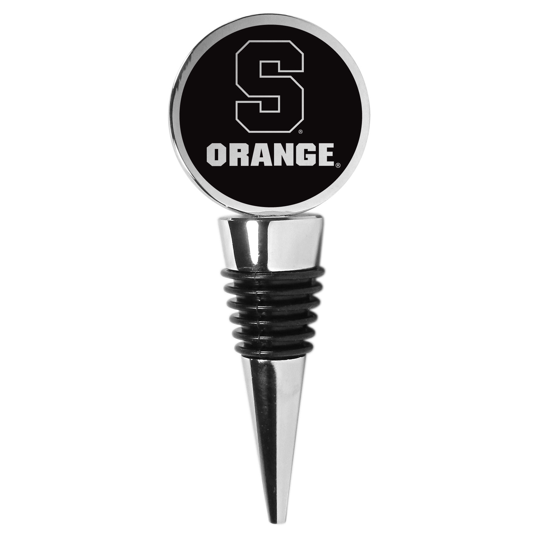Syracuse Orange Wine Stopper - This beautiful Syracuse Orange wine stopper has a classy monochromatic logo on the top disc. The tapered rubber rings allow you to create a tight seal on multiple sizes of wine bottles so that you are able to preserve the wine for later enjoyment. This a perfect addition to a game day celebration.