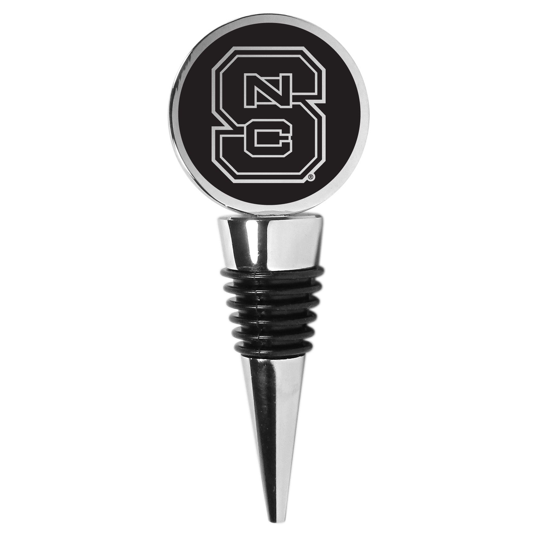 N. Carolina St. Wolfpack Wine Stopper - This beautiful N. Carolina St. Wolfpack wine stopper has a classy monochromatic logo on the top disc. The tapered rubber rings allow you to create a tight seal on multiple sizes of wine bottles so that you are able to preserve the wine for later enjoyment. This a perfect addition to a game day celebration.