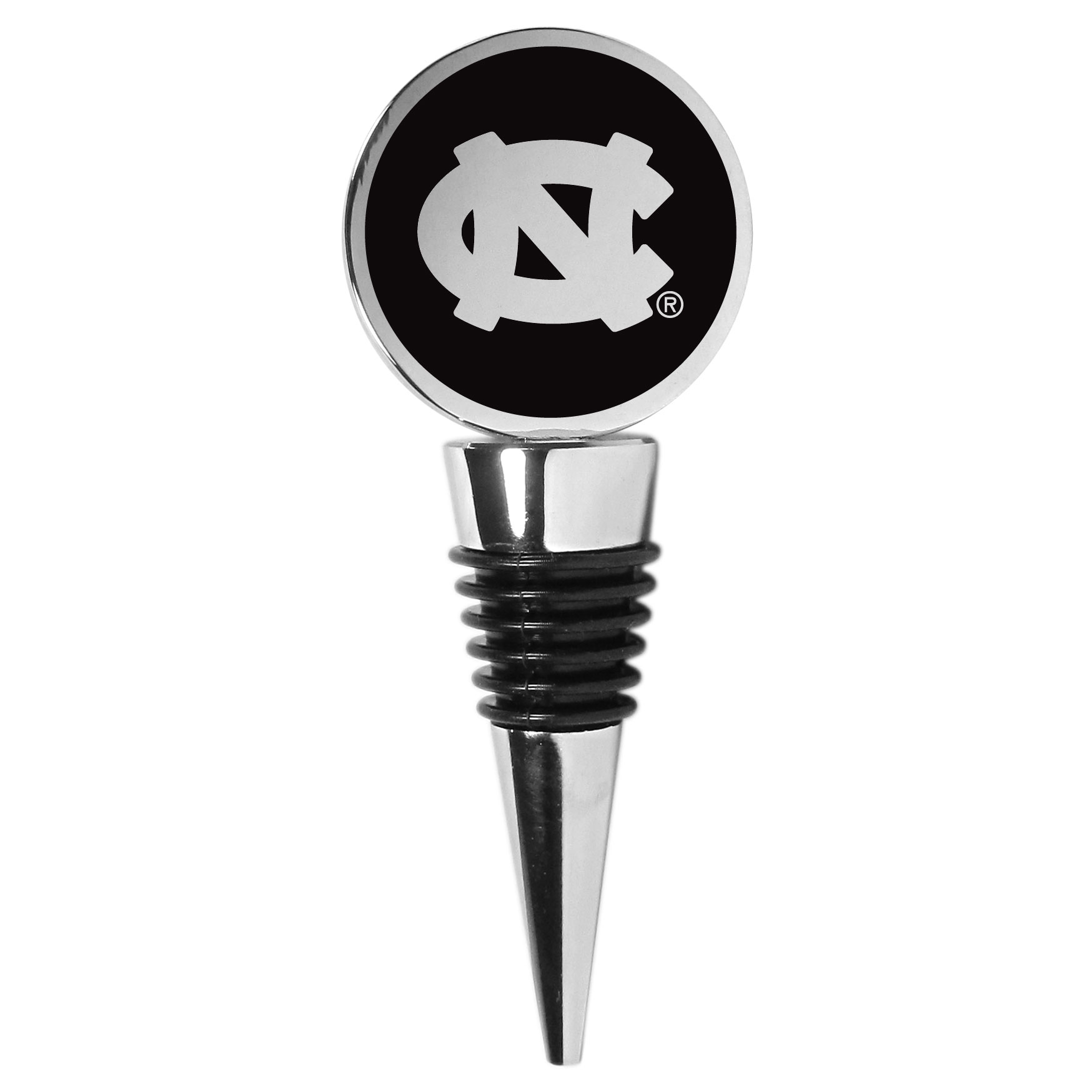 N. Carolina Tar Heels Wine Stopper - This beautiful N. Carolina Tar Heels wine stopper has a classy monochromatic logo on the top disc. The tapered rubber rings allow you to create a tight seal on multiple sizes of wine bottles so that you are able to preserve the wine for later enjoyment. This a perfect addition to a game day celebration.
