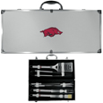 Arkansas Razorbacks 8 pc Stainless Steel BBQ Set w/Metal Case