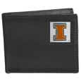 Illinois Fighting Illini Leather Bi-fold Wallet Packaged in Gift Box