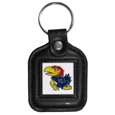 Kansas Jayhawks Square Leatherette Key Chain