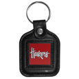 Nebraska Cornhuskers Square Leatherette Key Chain