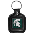 Michigan St. Spartans Square Leatherette Key Chain