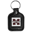 Mississippi St. Bulldogs Square Leatherette Key Chain