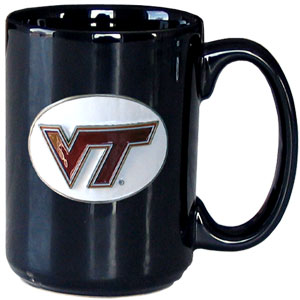 Virginia Tech Hokies Coffee Mug - Virginia Tech Hokies ceramic coffee mug is 12 oz and features a 3D metal logo cut school emblem that has a hand enameled finish. Thank you for shopping with CrazedOutSports.com