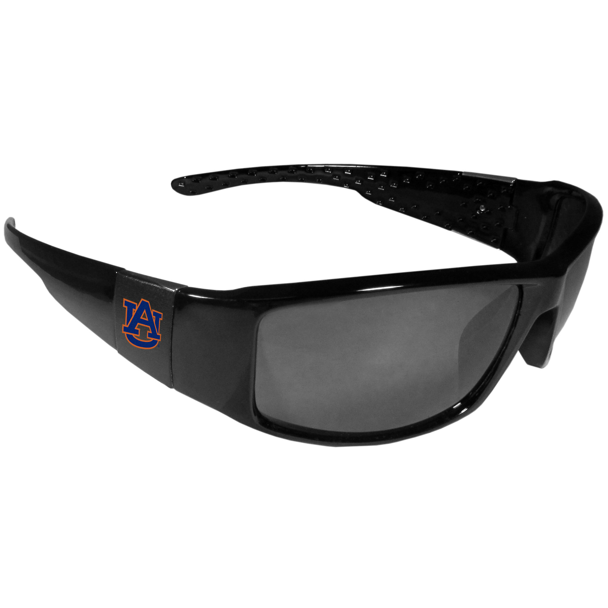 Auburn Tigers Black Wrap Sunglasses - These designer inspired frames have a sleek look in all black with  Auburn Tigers shields on each arm with a printed logo. The shades are perfect for any outdoor activity like; golfing, driving, hiking, fishing or cheering on the team at a tailgating event or at a home game day BBQ with a lens rating of 100% UVA/UVB for maximum UV protection. The high-quality frames are as durable as they are fashionable and with their classic look they are the perfect fan accessory that can be worn everyday for every occasion.