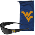 W. Virginia Mountaineers Chrome Wrap Sunglasses and Bag