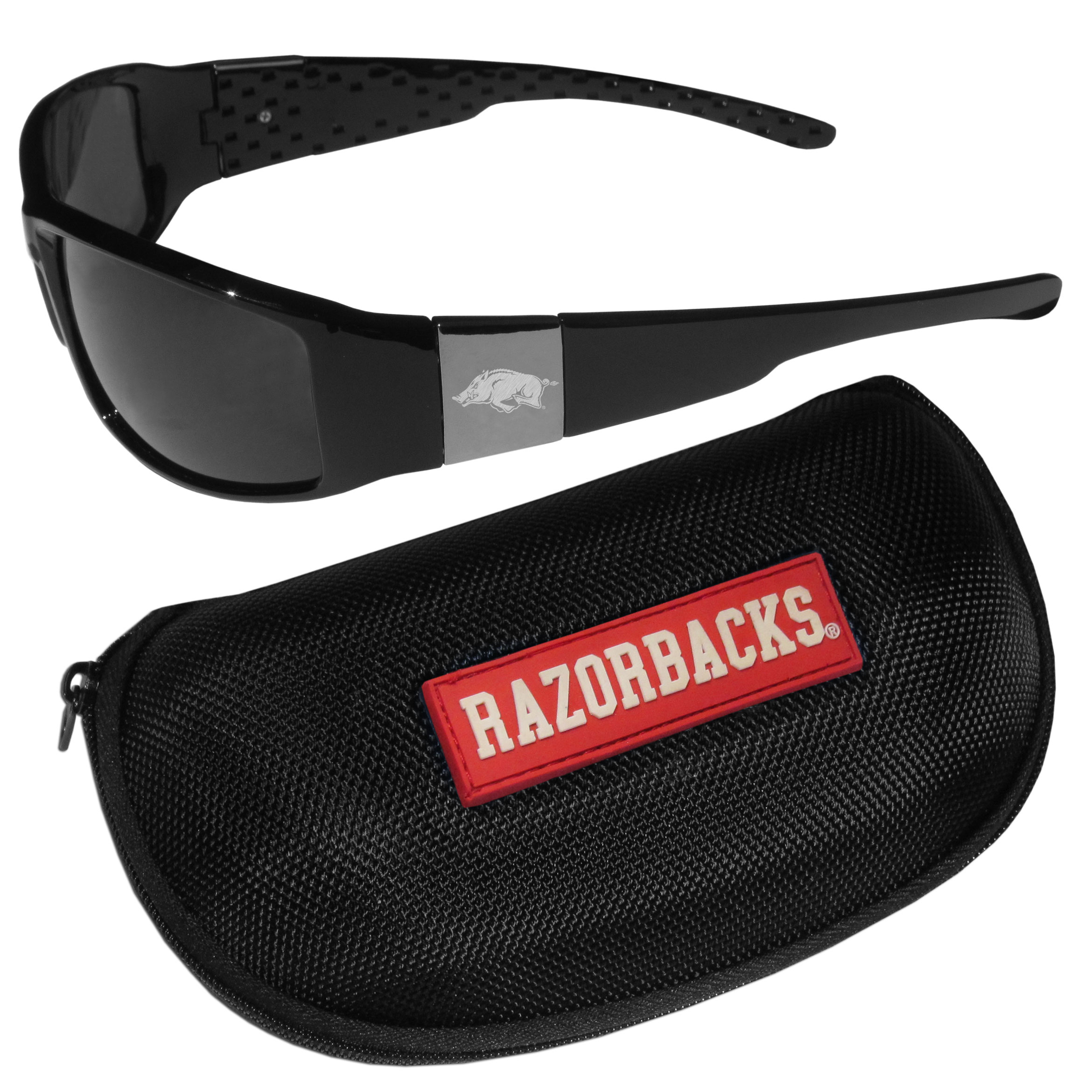 Arkansas Razorbacks Chrome Wrap Sunglasses and Zippered Carrying Case - These designer inspired frames have a sleek look in all black with high-polish chrome Arkansas Razorbacks shields on each arm with an etched logo. The shades are perfect any outdoor activity like; golfing, driving, hiking, fishing or cheering on the team at a tailgating event or an at home game day BBQ with a lens rating of 100% UVA/UVB for maximum UV protection. The high-quality frames are as durable as they are fashionable and with their classic look they are perfect fan accessory that can be worn everyday for every occasion. The shades come with a zippered hard shell case to keep your sunglasses safe.