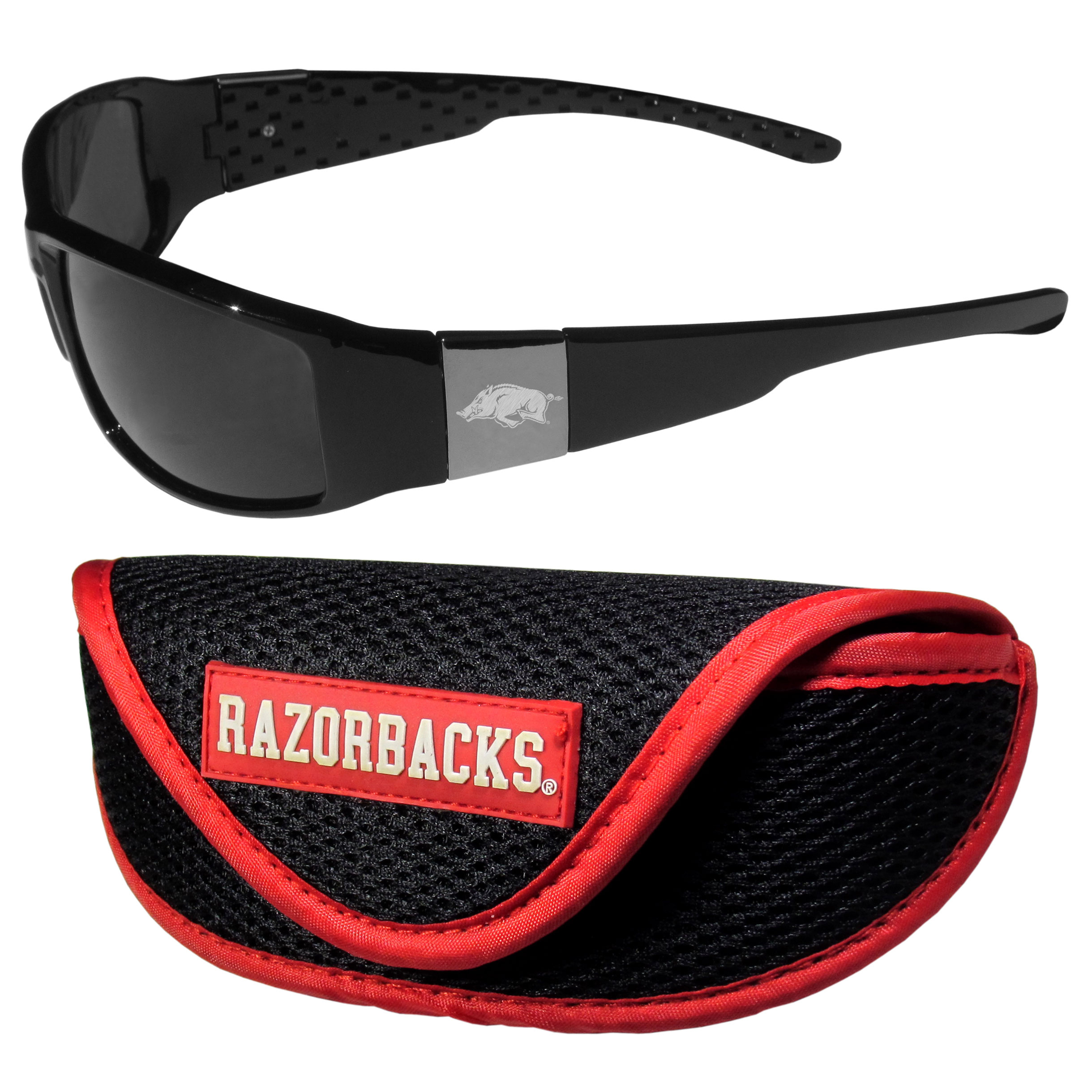 Arkansas Razorbacks Chrome Wrap Sunglasses and Sport Carrying Case - These designer inspired frames have a sleek look in all black with high-polish chrome Arkansas Razorbacks shields on each arm with an etched logo. The shades are perfect any outdoor activity like; golfing, driving, hiking, fishing or cheering on the team at a tailgating event or an at home game day BBQ with a lens rating of 100% UVA/UVB for maximum UV protection. The high-quality frames are as durable as they are fashionable and with their classic look they are perfect fan accessory that can be worn everyday for every occasion. The shades come with a zippered hard shell case to keep your sunglasses safe.