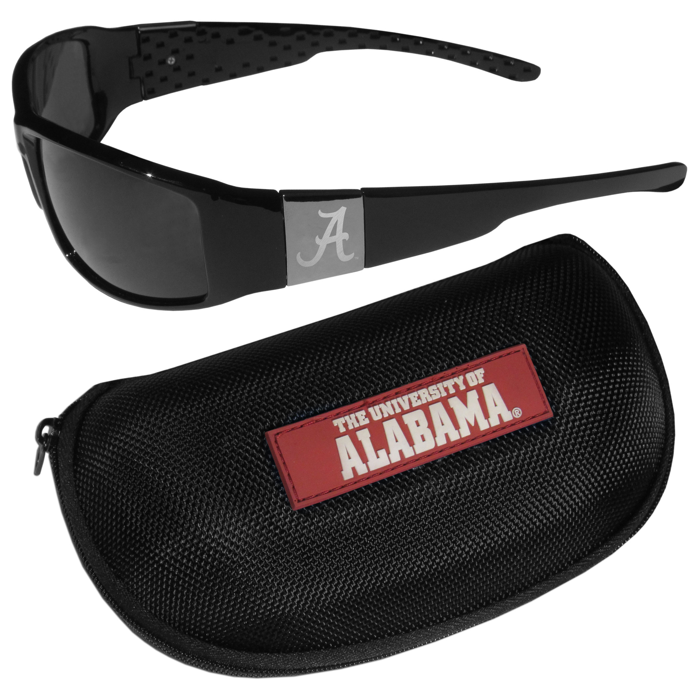 Alabama Crimson Tide Chrome Wrap Sunglasses and Zippered Carrying Case - These designer inspired frames have a sleek look in all black with high-polish chrome Alabama Crimson Tide shields on each arm with an etched logo. The shades are perfect any outdoor activity like; golfing, driving, hiking, fishing or cheering on the team at a tailgating event or an at home game day BBQ with a lens rating of 100% UVA/UVB for maximum UV protection. The high-quality frames are as durable as they are fashionable and with their classic look they are perfect fan accessory that can be worn everyday for every occasion. The shades come with a zippered hard shell case to keep your sunglasses safe.