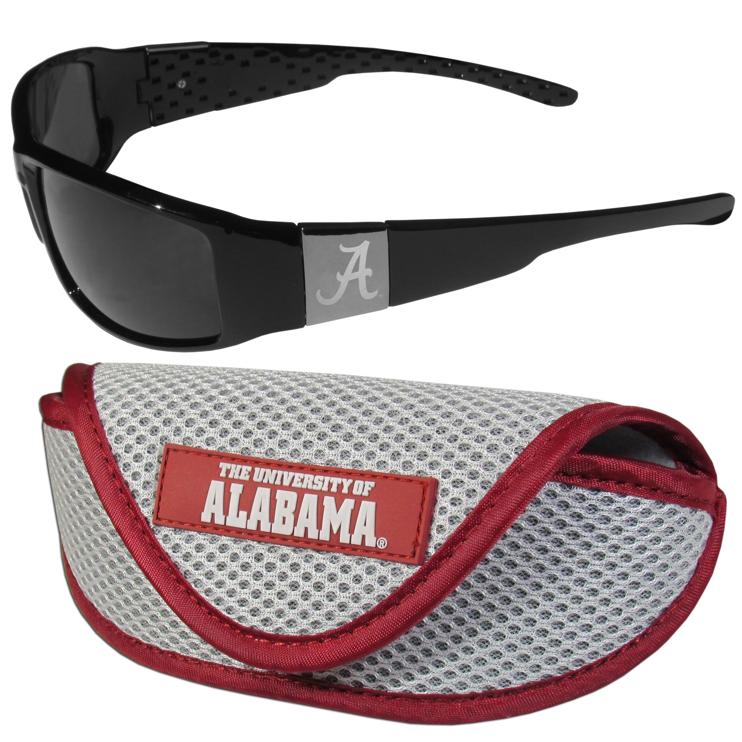 Alabama Crimson Tide Chrome Wrap Sunglasses and Sport Carrying Case - These designer inspired frames have a sleek look in all black with high-polish chrome Alabama Crimson Tide shields on each arm with an etched logo. The shades are perfect any outdoor activity like; golfing, driving, hiking, fishing or cheering on the team at a tailgating event or an at home game day BBQ with a lens rating of 100% UVA/UVB for maximum UV protection. The high-quality frames are as durable as they are fashionable and with their classic look they are perfect fan accessory that can be worn everyday for every occasion. The shades come with a sport case with colorful logo on the lid and velcro closure to keep your sunglasses safe.