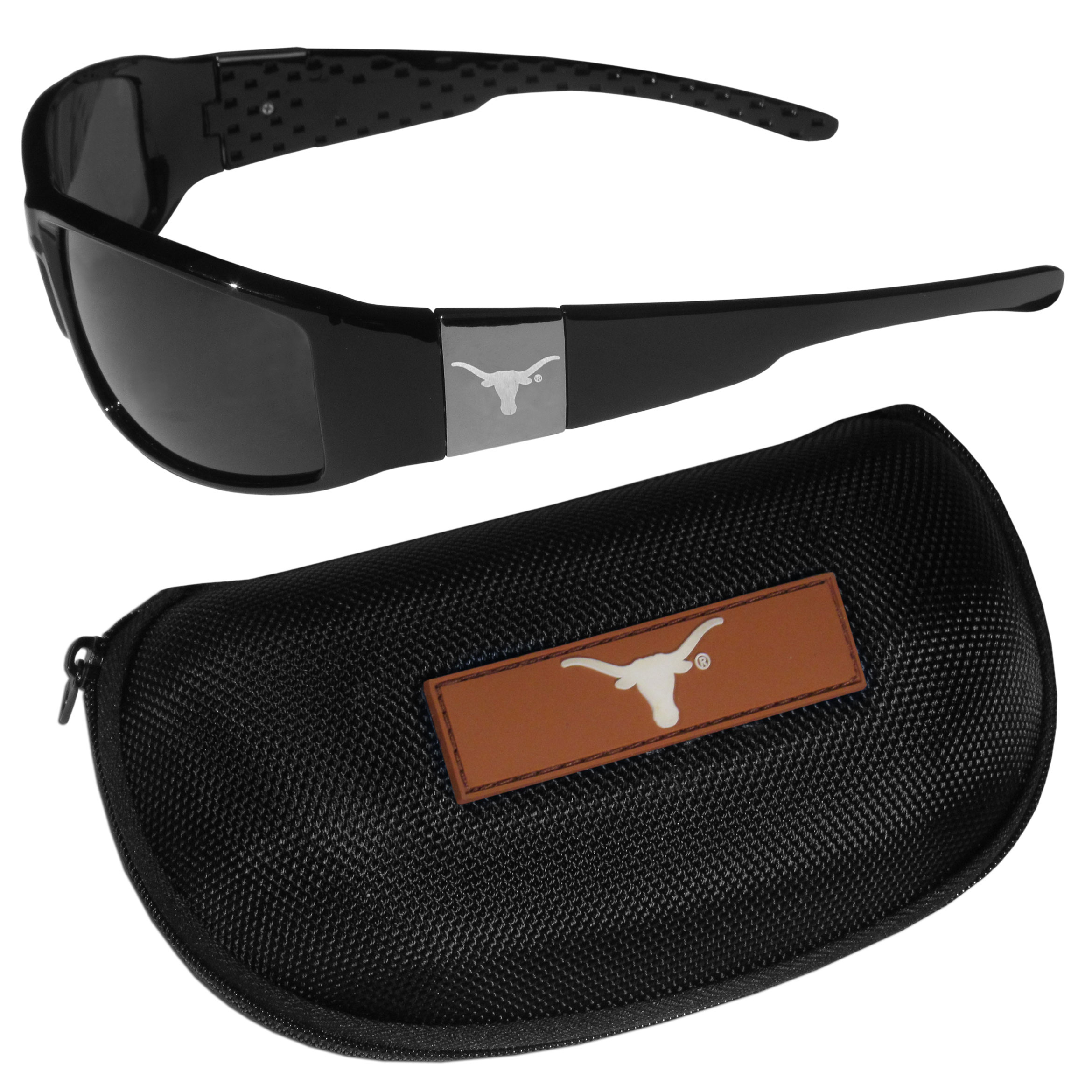 Texas Longhorns Chrome Wrap Sunglasses and Zippered Carrying Case - These designer inspired frames have a sleek look in all black with high-polish chrome Texas Longhorns shields on each arm with an etched logo. The shades are perfect any outdoor activity like; golfing, driving, hiking, fishing or cheering on the team at a tailgating event or an at home game day BBQ with a lens rating of 100% UVA/UVB for maximum UV protection. The high-quality frames are as durable as they are fashionable and with their classic look they are perfect fan accessory that can be worn everyday for every occasion. The shades come with a zippered hard shell case to keep your sunglasses safe.